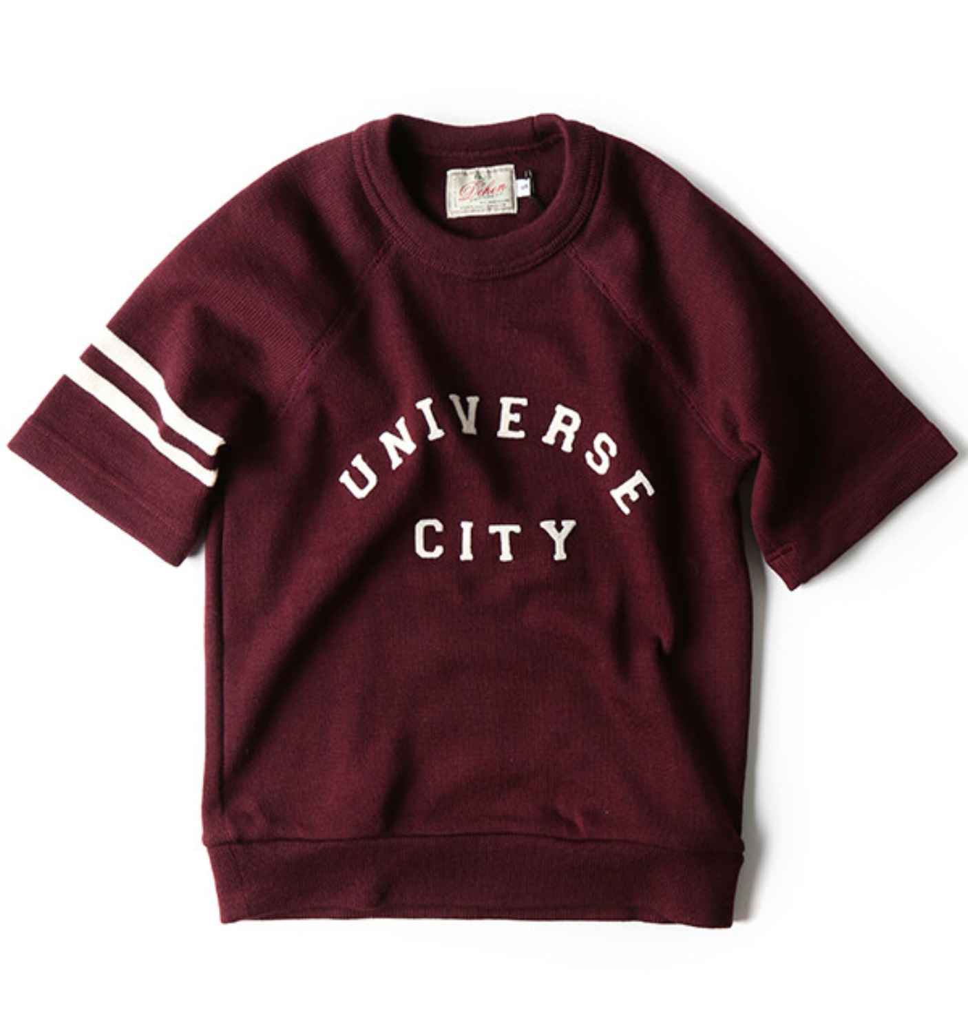 Raglan Short Sleeve Crew Maroon/Off-White