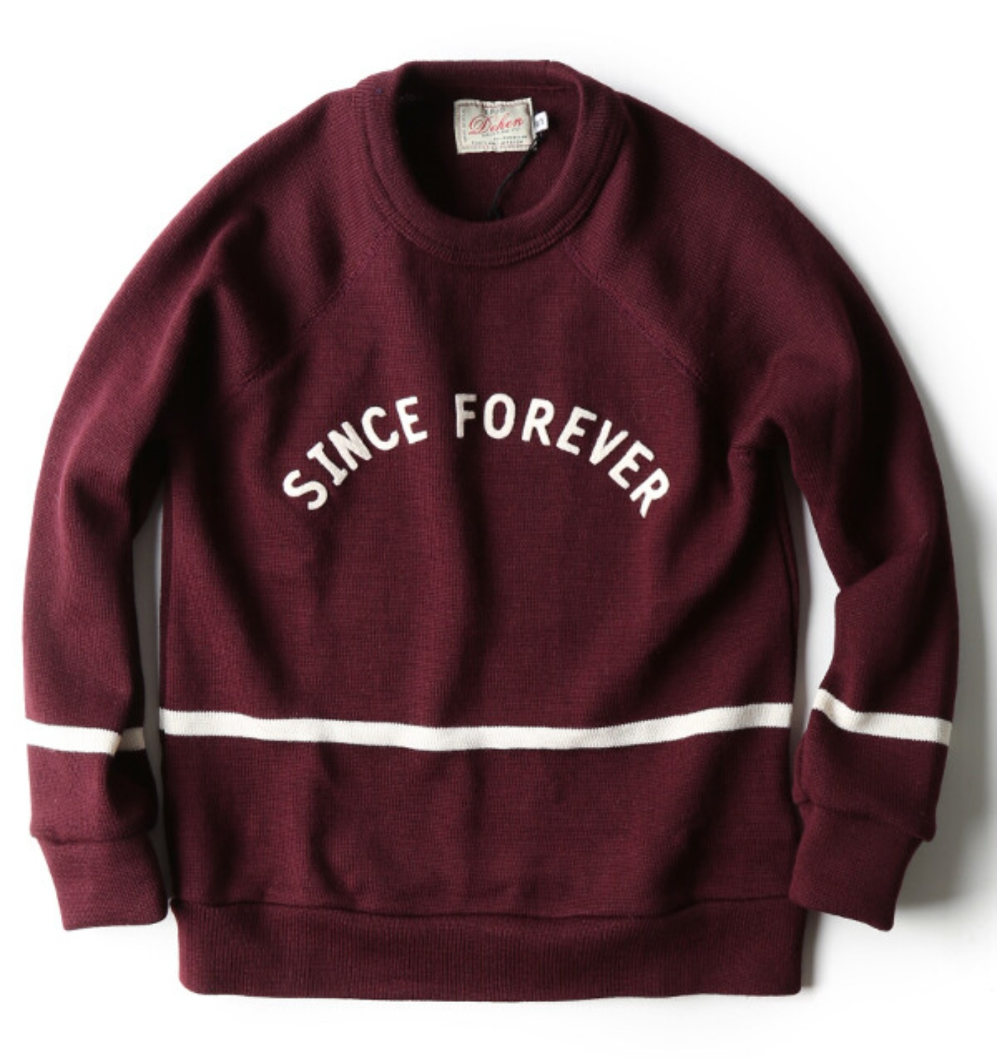 Varsity Striped Crew Neck Maroon/Off-White