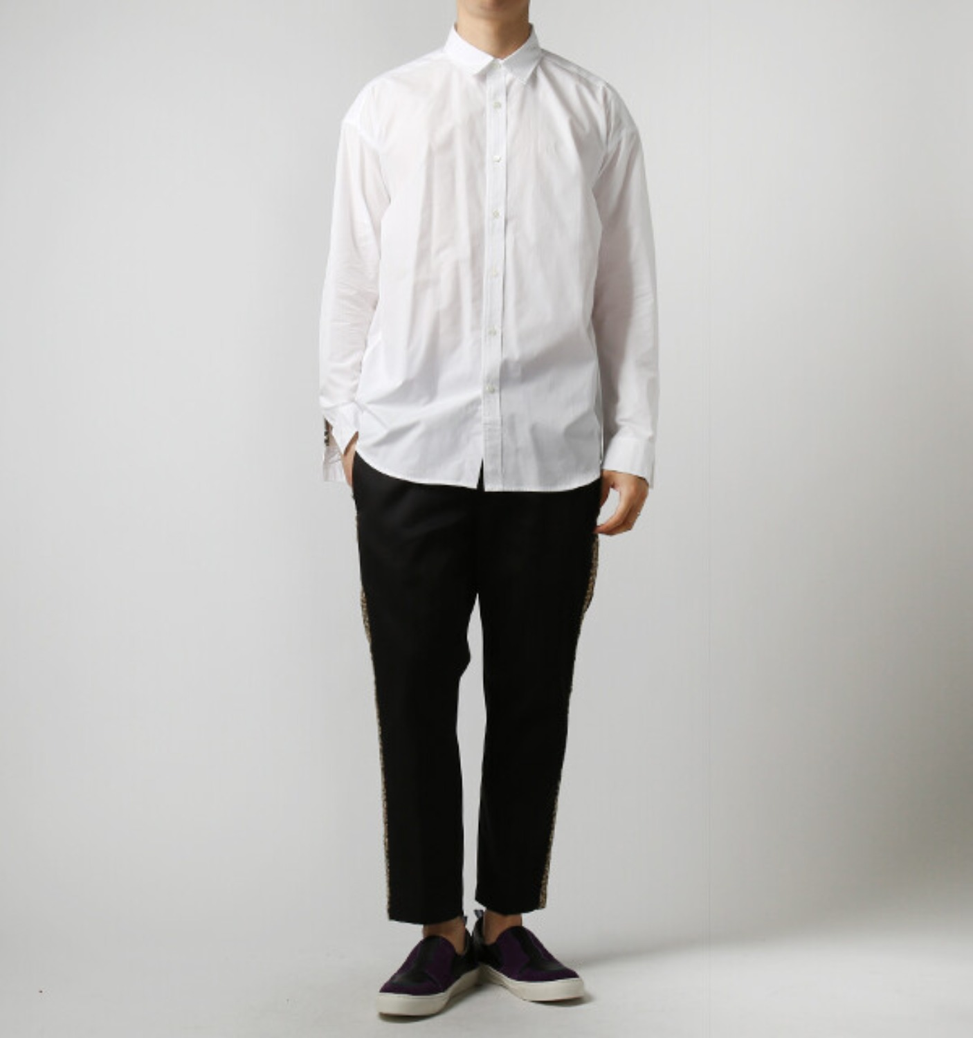 L/S LEATHER SWITCHED MODERN SHIRT WHITE (MGM-SH11)