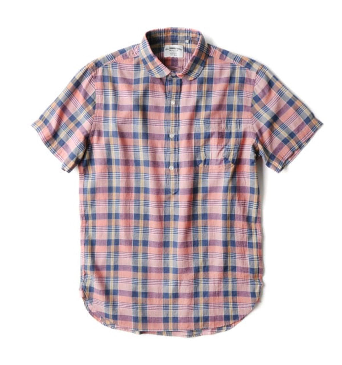 BAS02 PINK/INDIGO SUMMER PLAID SHIRT