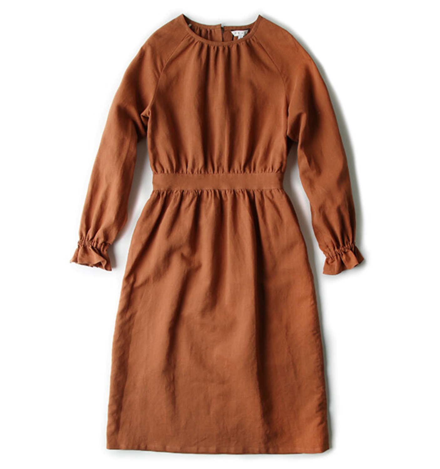 SHIRT WAIST LINEN DRESS ORANGE (NDR05002A)