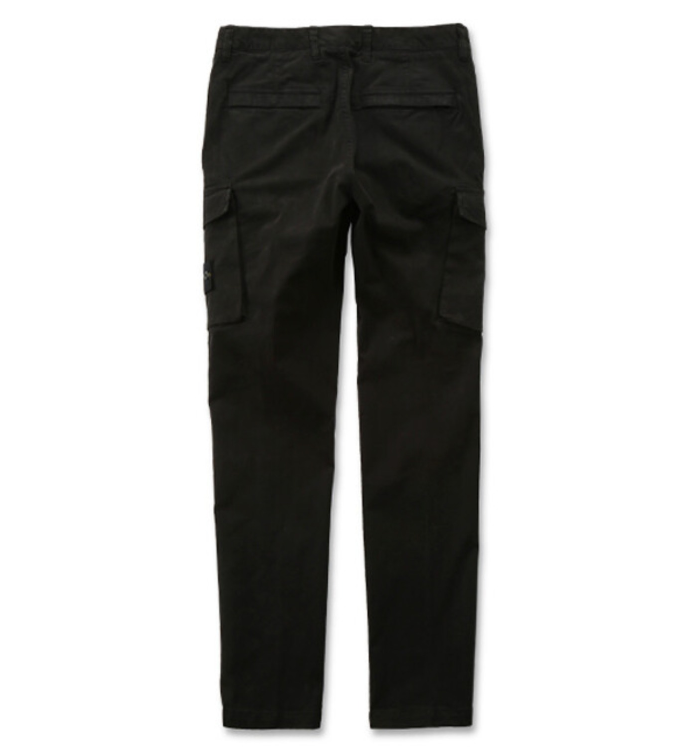 STRETCH BROKEN TWILL COTTON GARMENT DYED OLD EFFECT CARGO PANTS BLACK