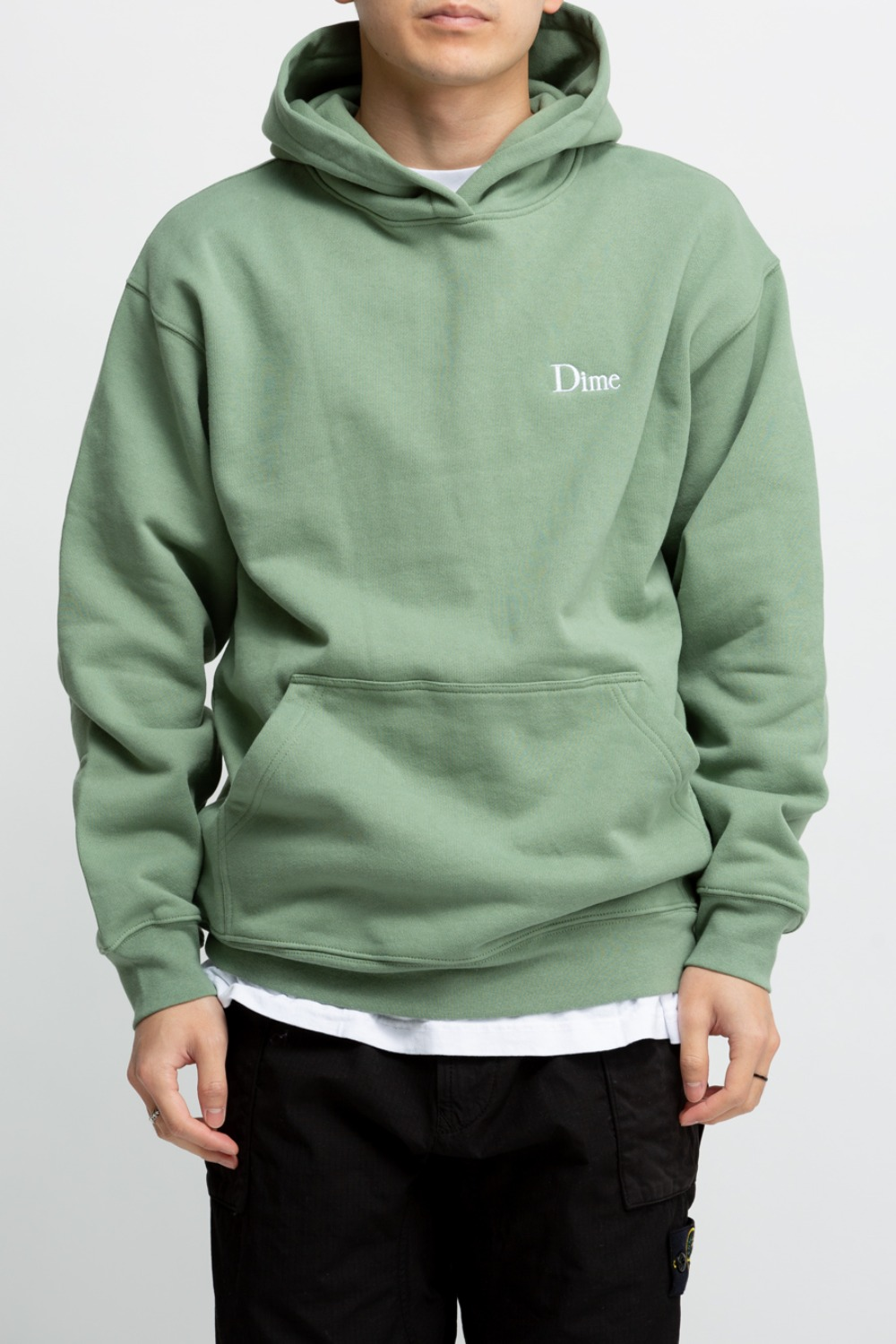 DIME CLASSIC SMALL LOGO HOODIE OLIVE