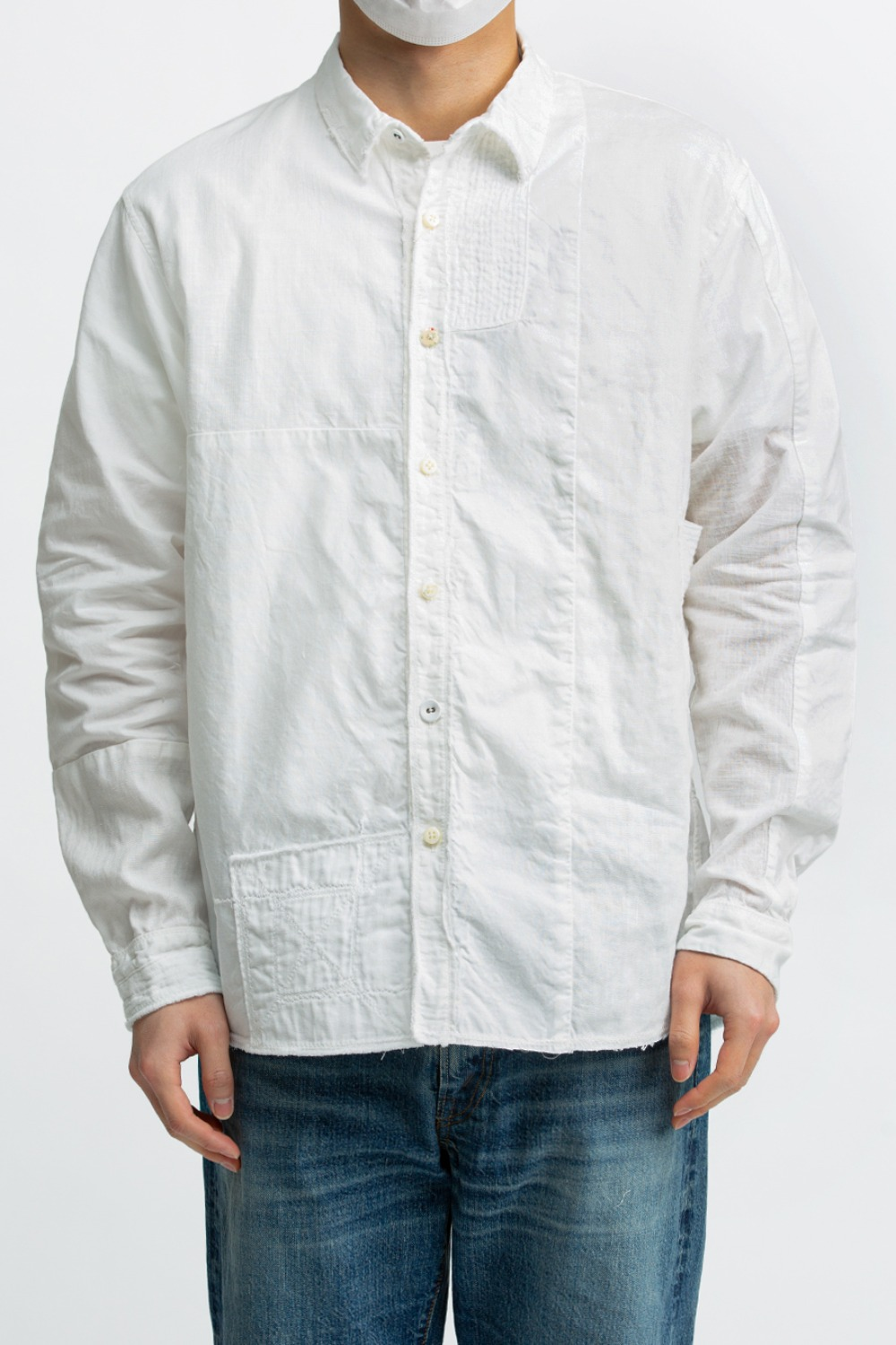 COTTON X LINEN PATCHWORK KATMANDU SHIRT(EK-497)