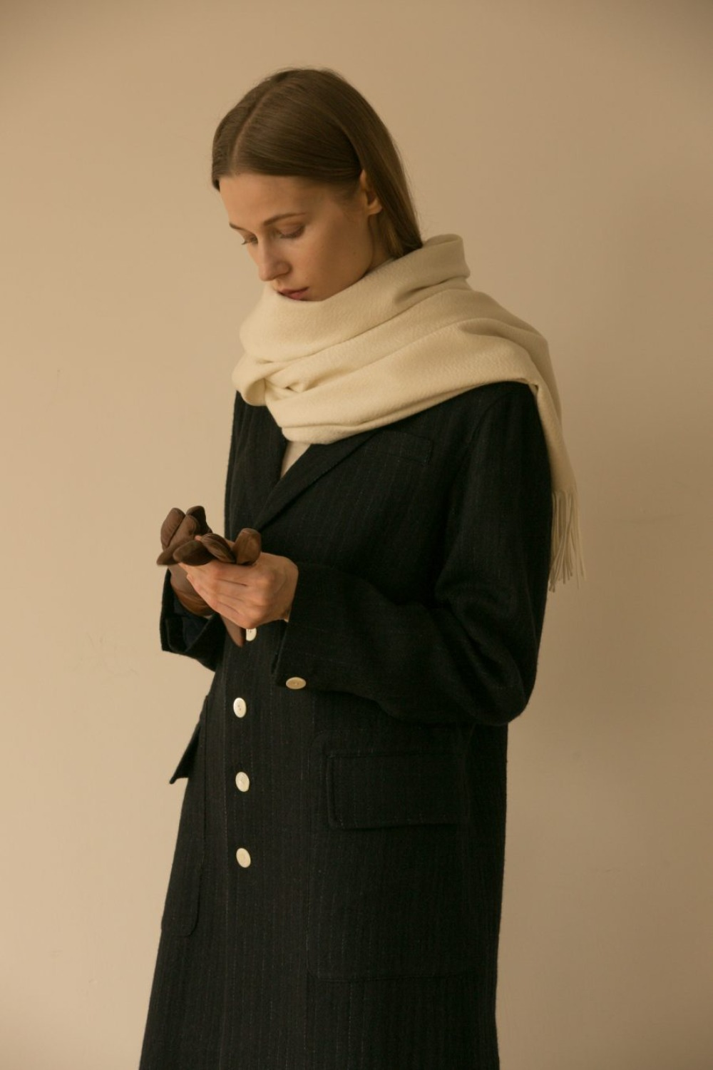 CLASSIC TAILORED COAT NAVY STRIPE