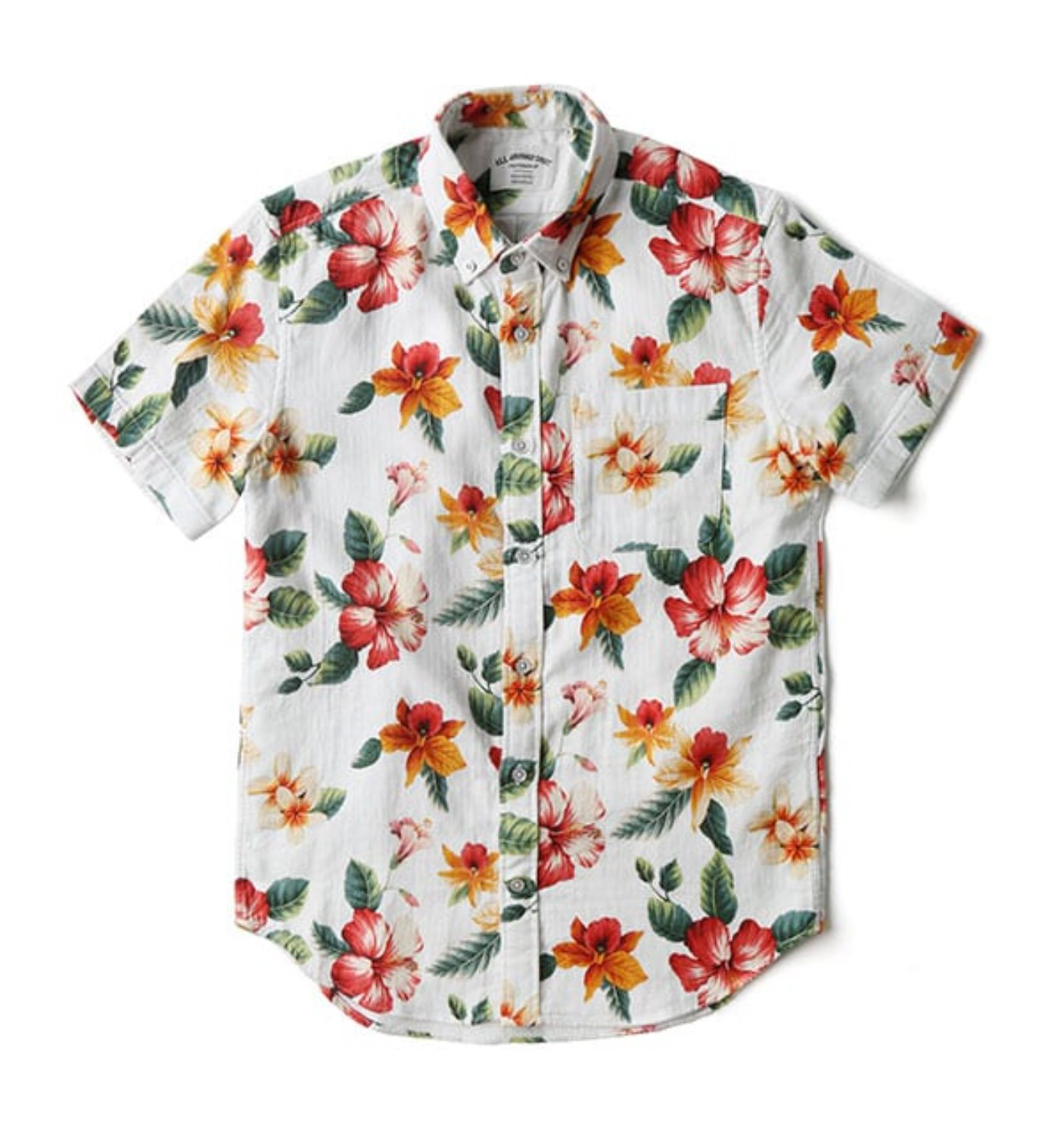 BAS01 WHITE/ORANGE HERRINGBONE HAWAIIAN SHIRT