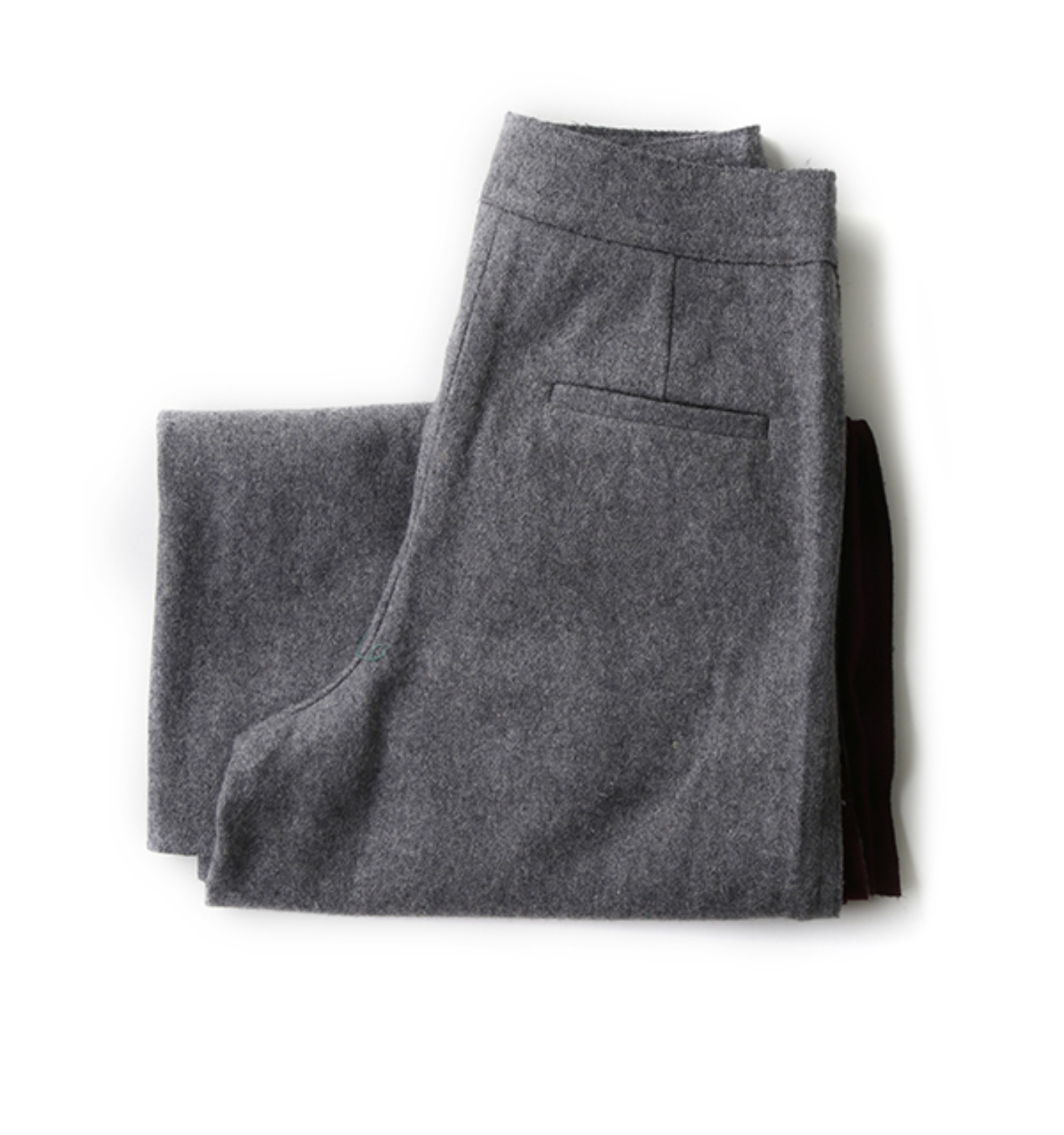 side slit detail wool pants GREY+PURPLE (NPA02004A)