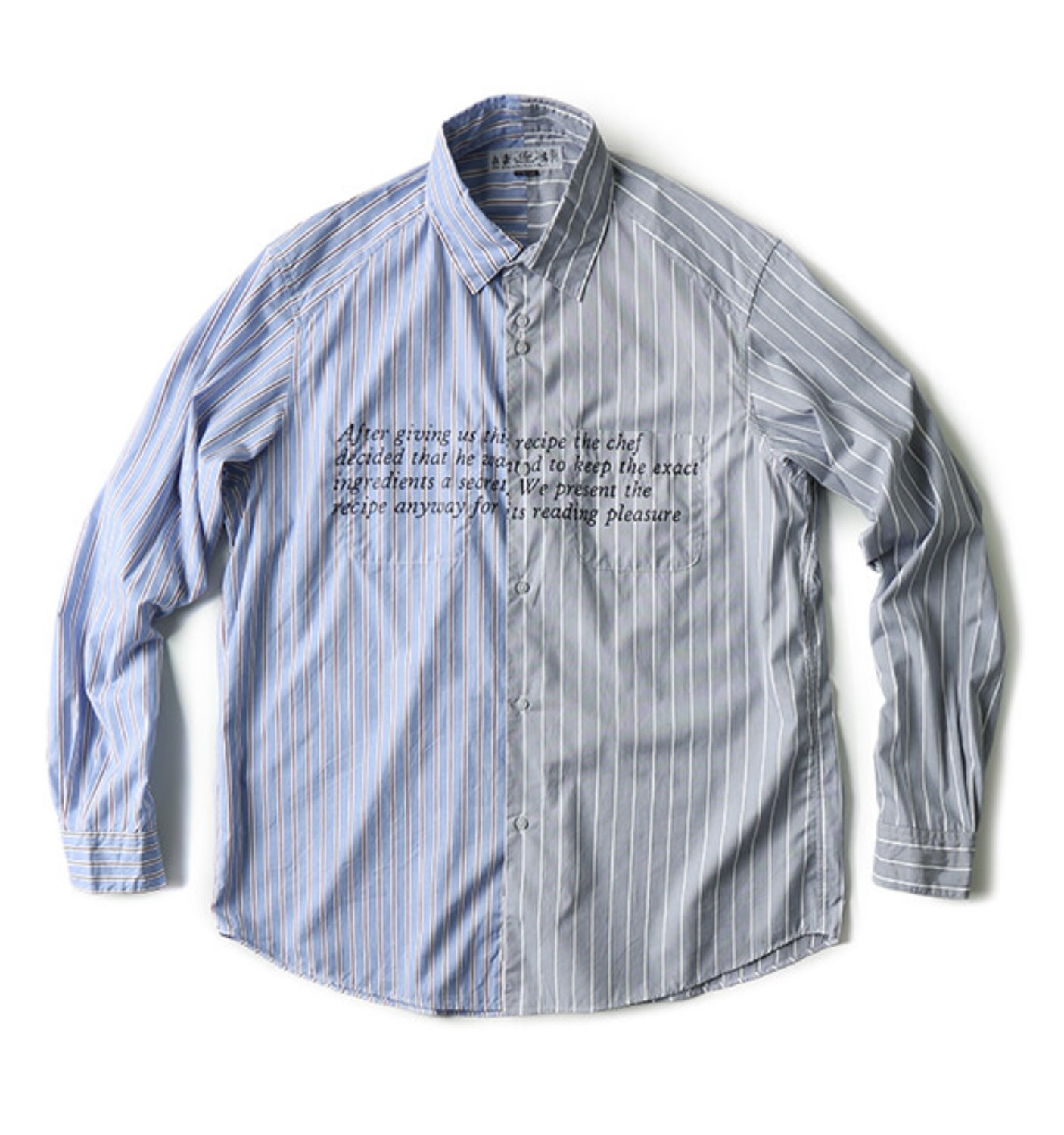 RECIPE & ENIGMA PRINTED DRESS SHIRT BLUE