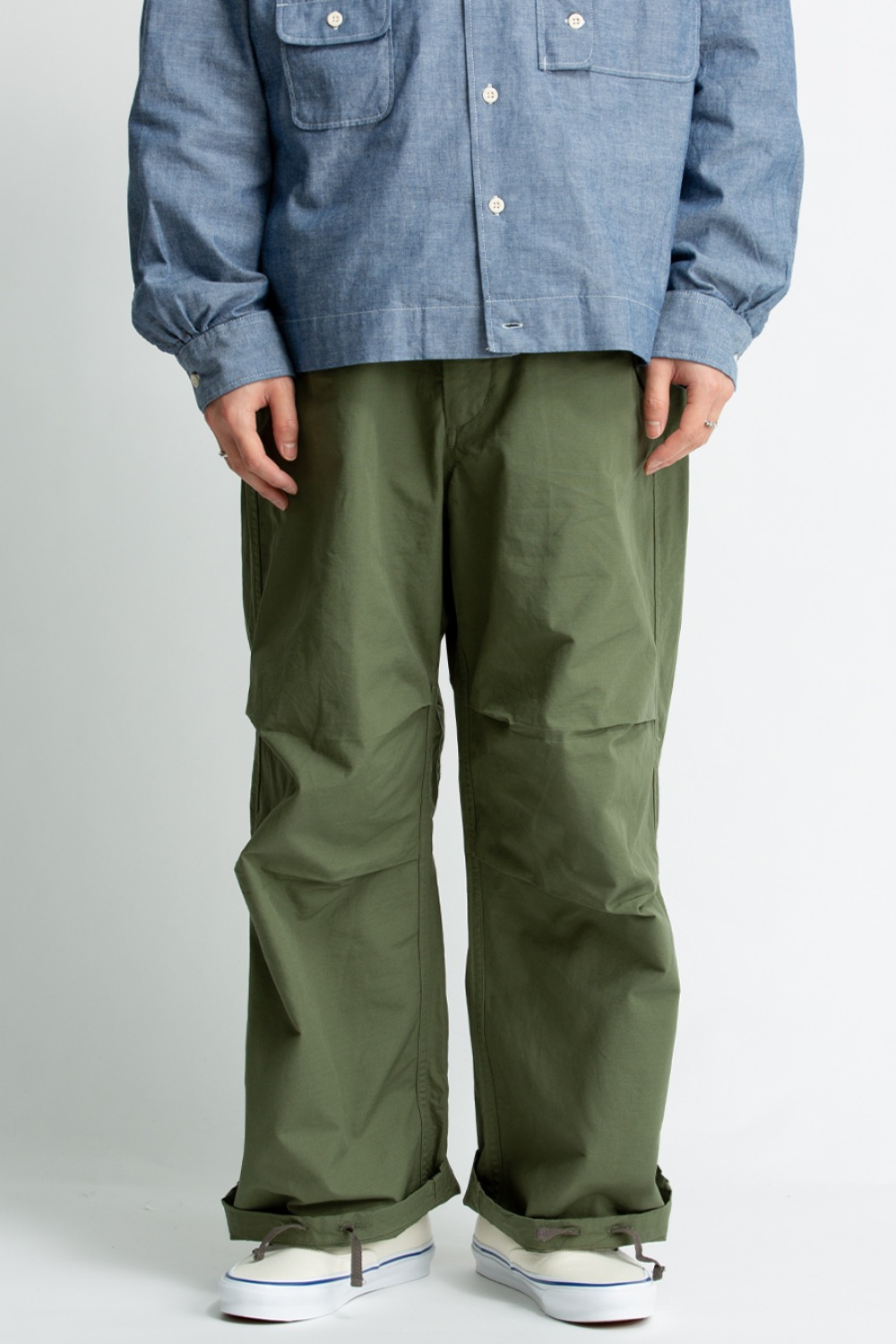 OVER PANT OLIVE COTTON RIPSTOP