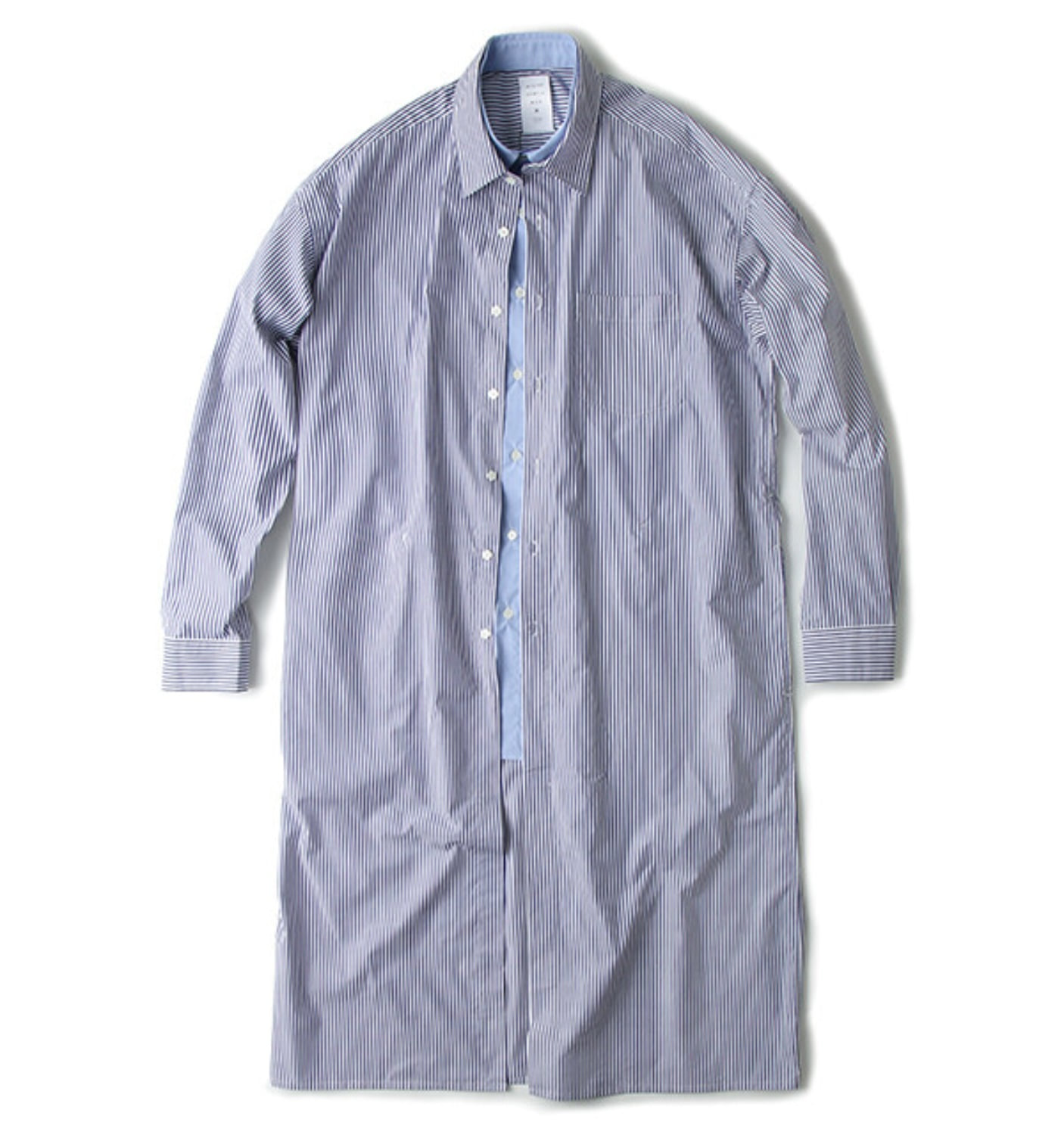 DOUBLE FRONT LONG SHIRT BLUE STRIPE(MGM-SH16)