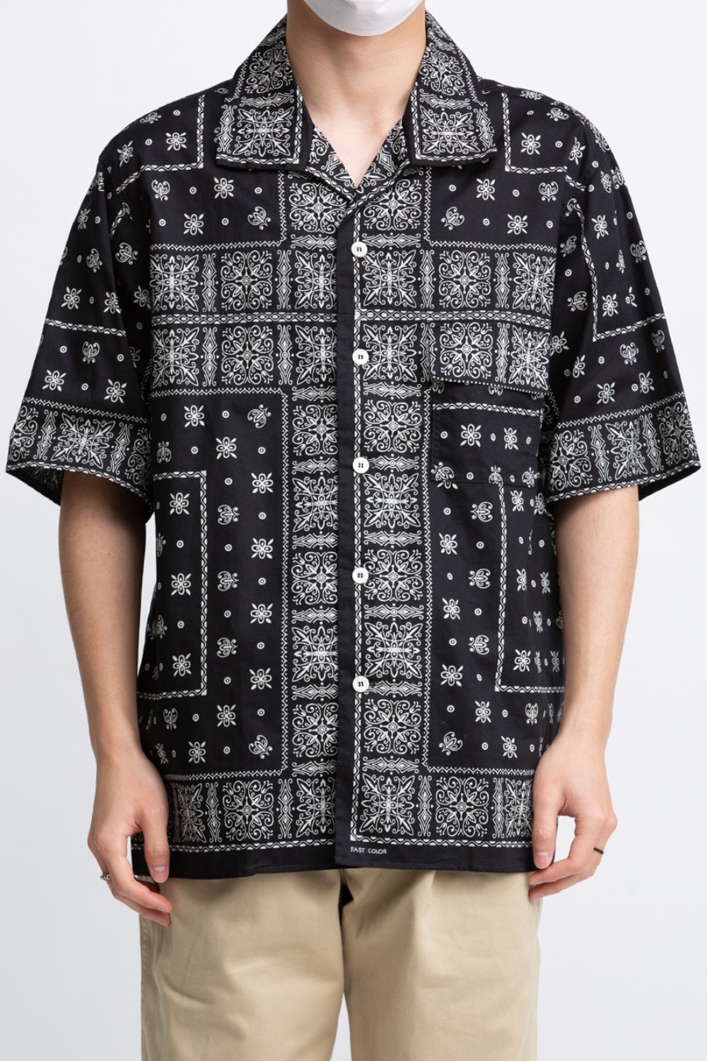 JM BANDANNA SHIRT S/S BLACK(MS20014)
