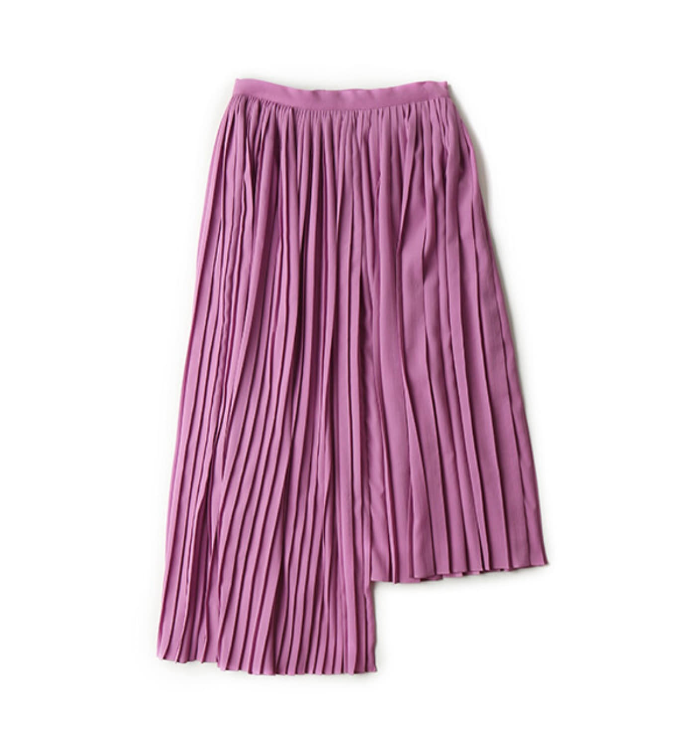 UNBALANCED PLEATED SKIRT_ LAVENDAR PINK