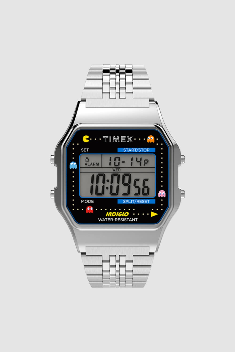 TIMEX X PAC-MAN™ T80 34mm STAINLESS STEEL BRACELET WATCH SILVER