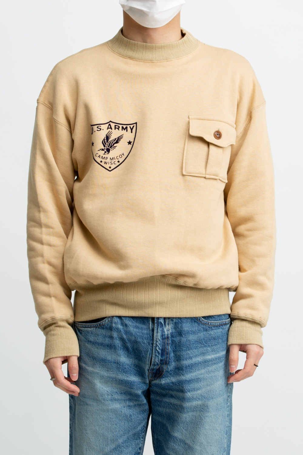 LOT 478 MILITARY SWEATSHIRT CAMP MCCOY BEIGE