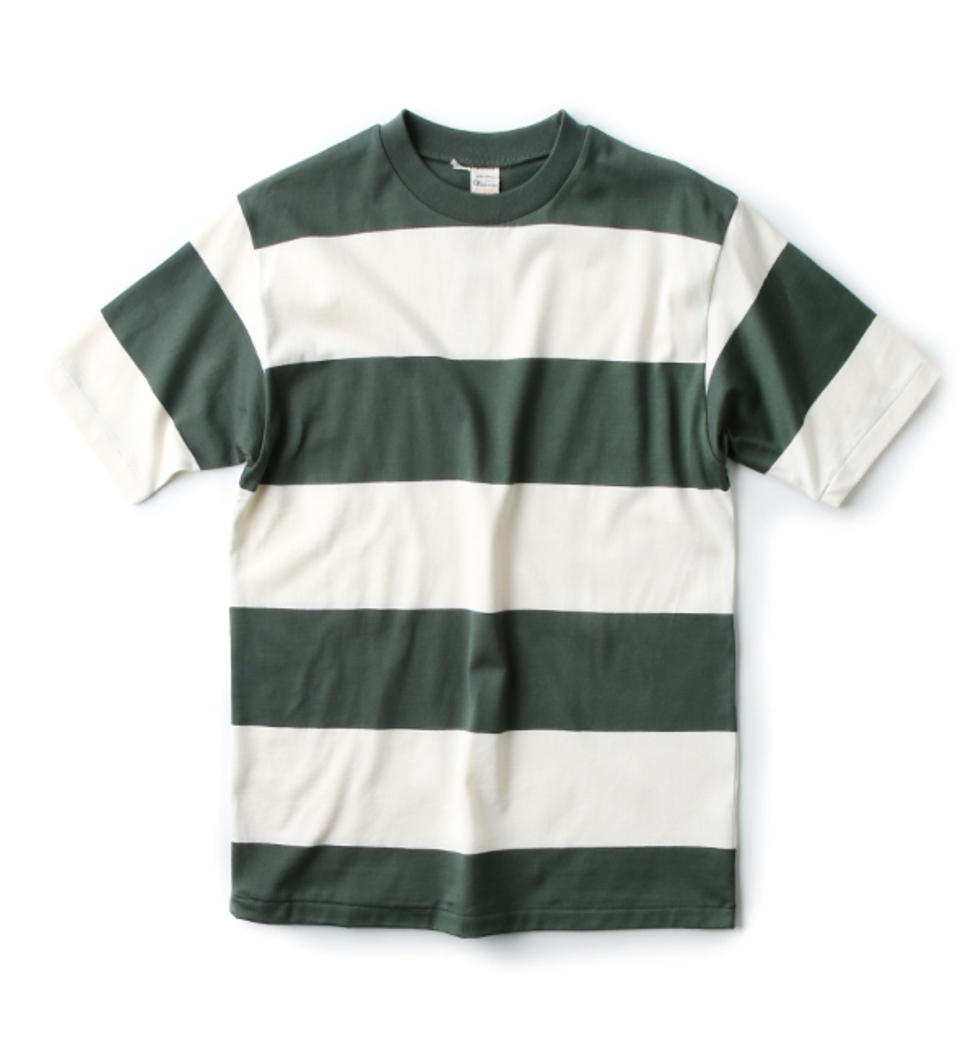 Lot 4052 Short Sleeve 4Inch Border T GREEN/WHITE