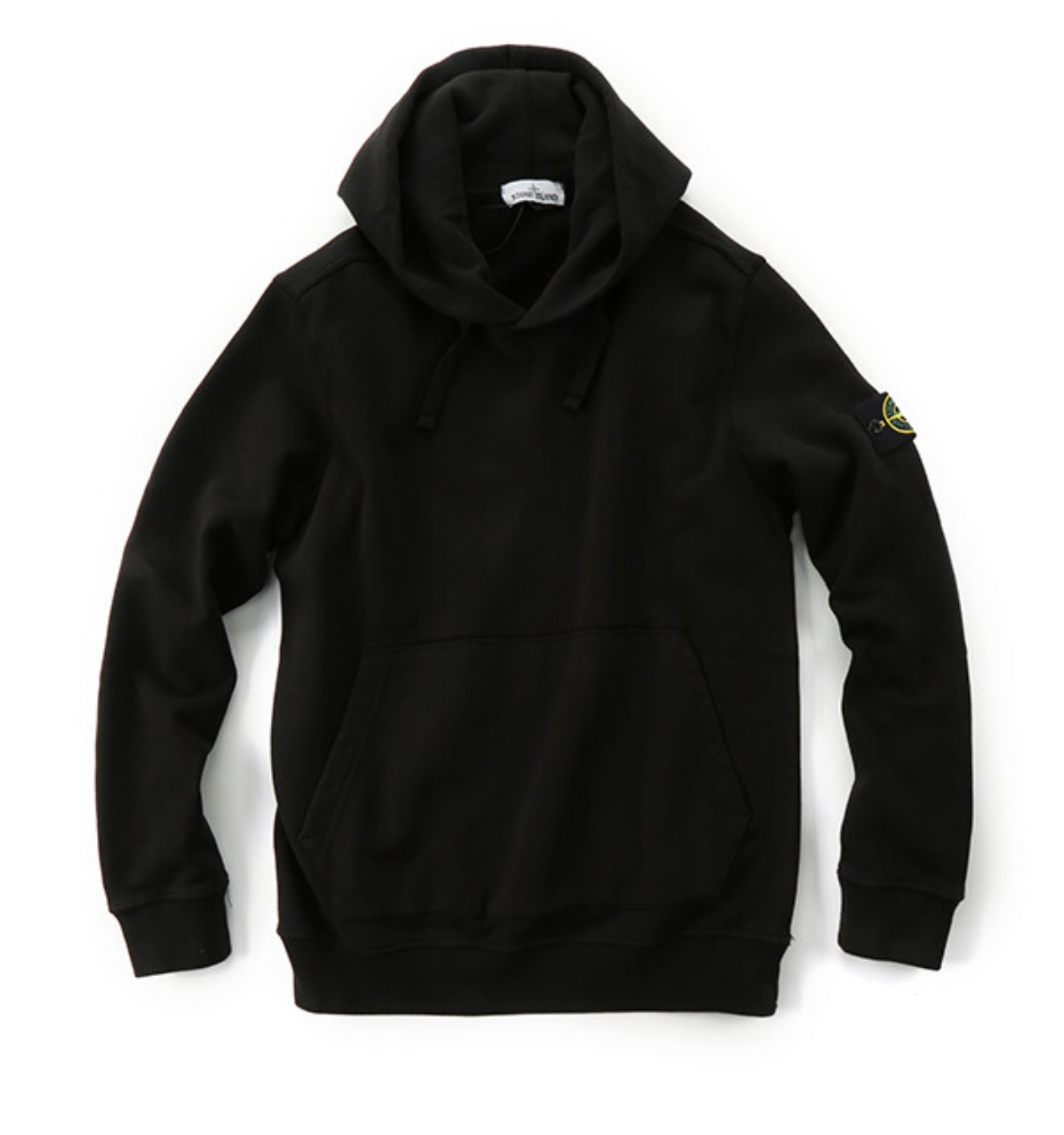 BRUSHED COTTON FLEECE GARMENT DYED HOODED SWEATSHIRT BLACK