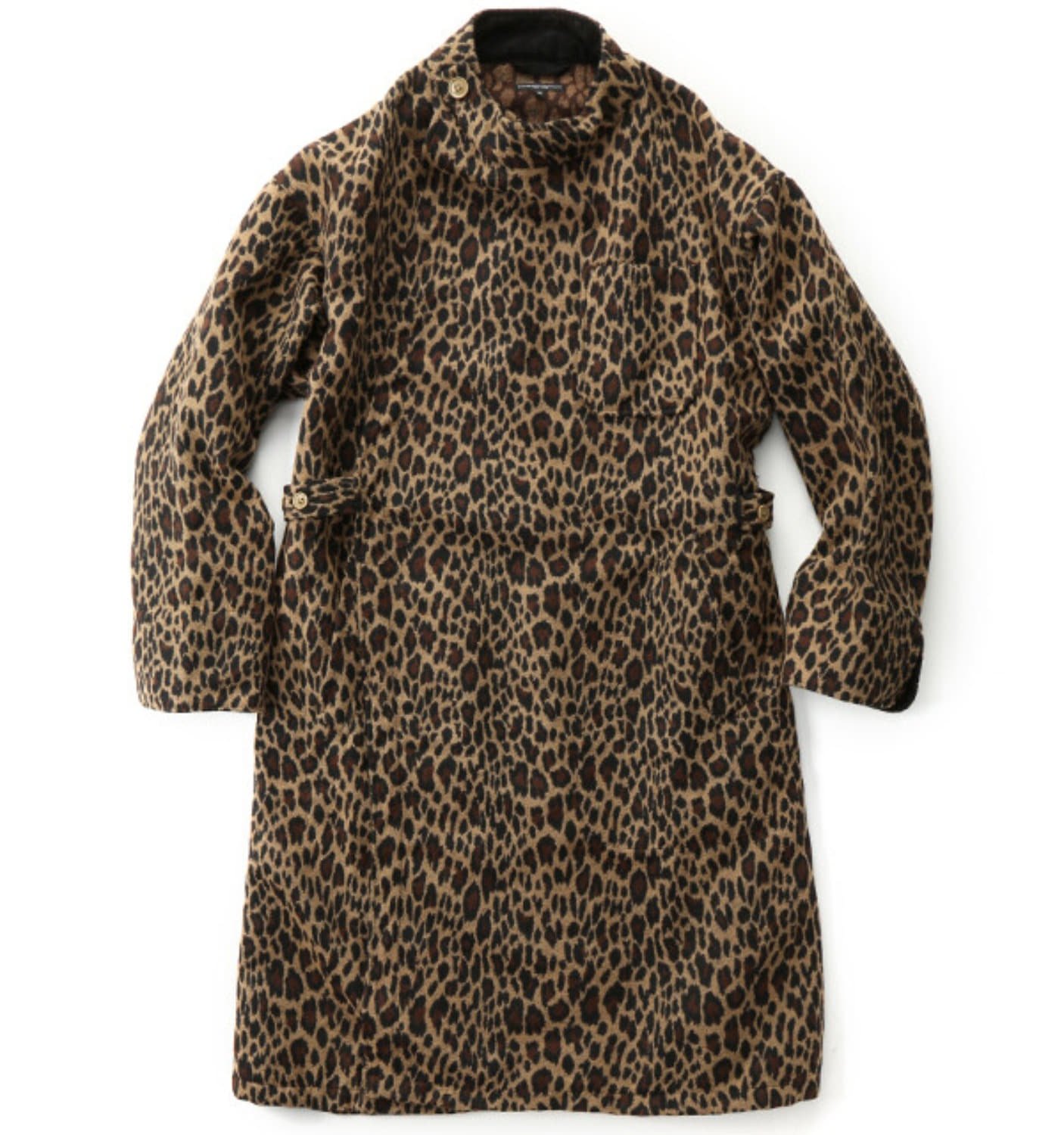 MG COAT BROWN POLY WOOL LEOPARD JACQUARD