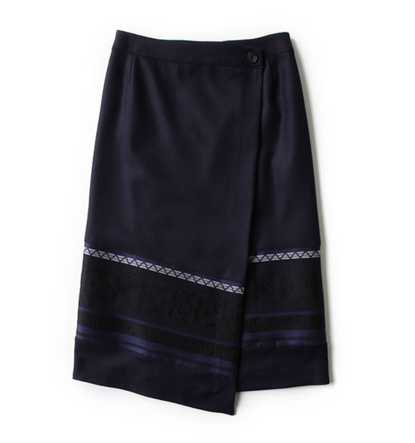 WOOL TWILL PRIMITIVE PATTERN JACQUARD CONTRASTED WRAPPED SKIRT NAVY (WL1673301)