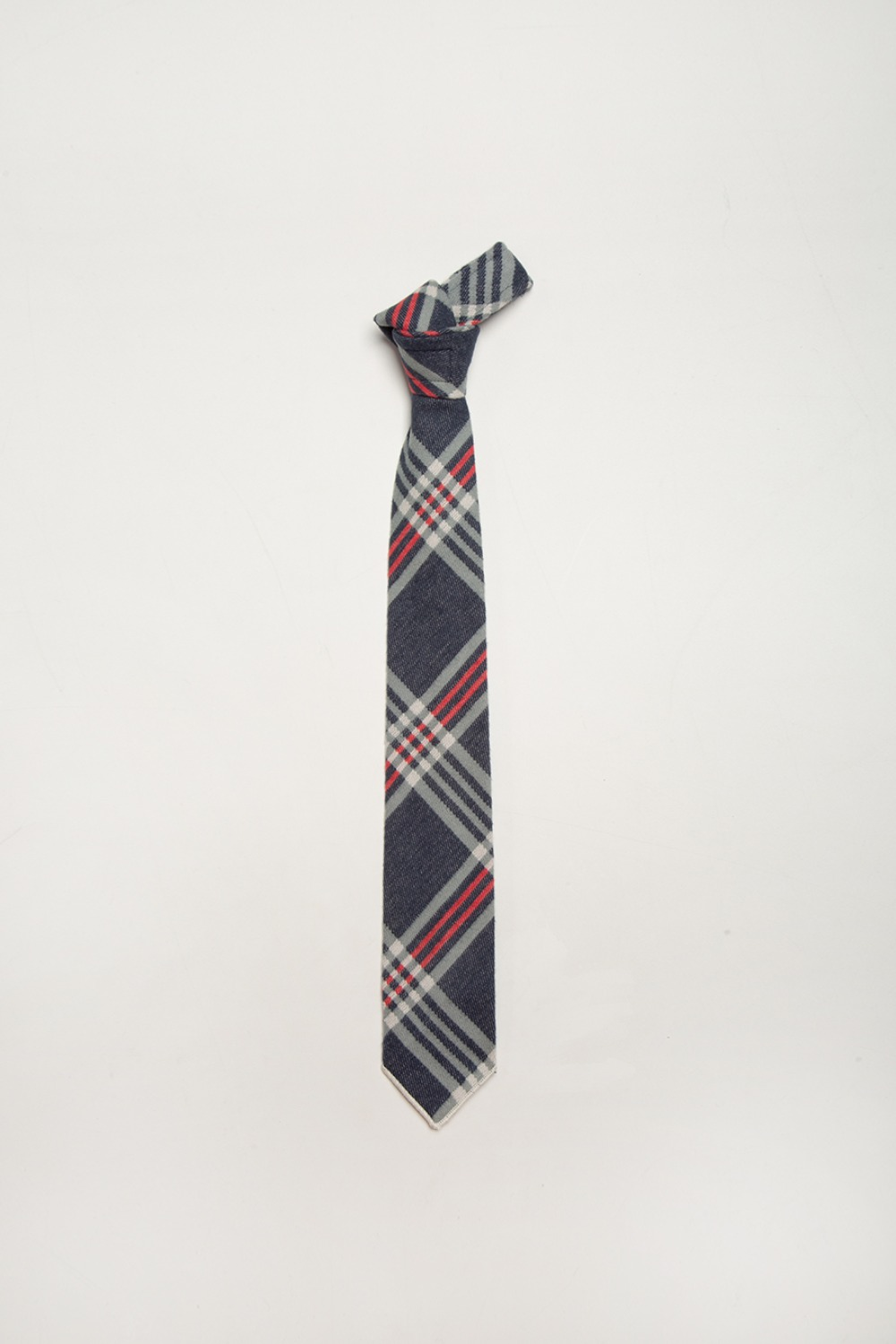 NECK TIE NAVY TEAL RED BIG PLAID