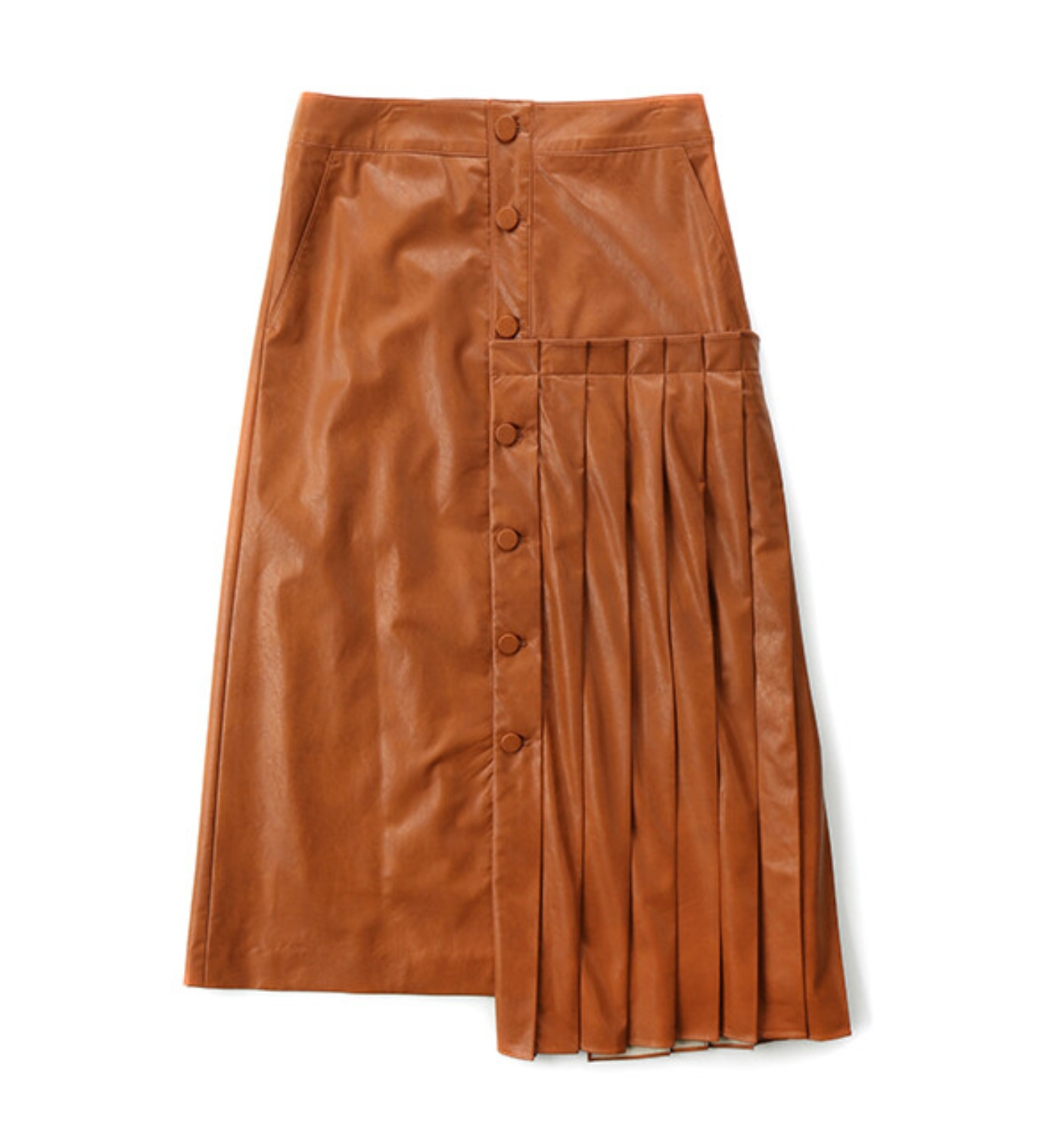 ALLER PLEATED SKIRT CARAMEL FAKE LEATHER (MDS07SK02)