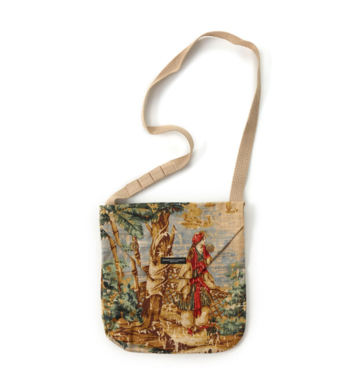 SHOULDER POUCH NATURAL PALM TREE LINEN CANVA (A-TYPE)