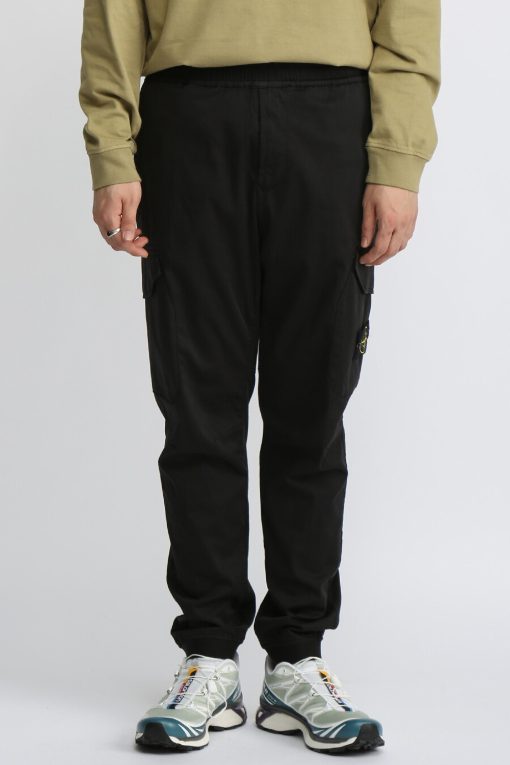 GARMENT DYED REGULAR TAPERED CARGO PANTS(31409) BLACK