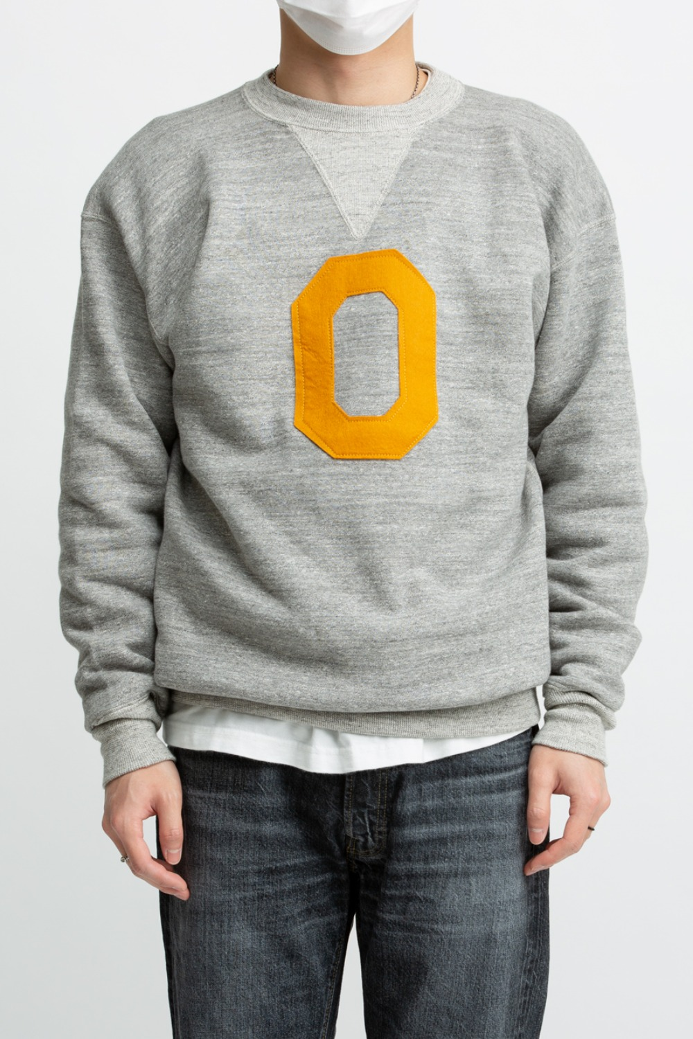 "LOT 467 2 NEEDLE CREW NECK BOTH V SWEAT SHIRT ""O"" OATMEAL"