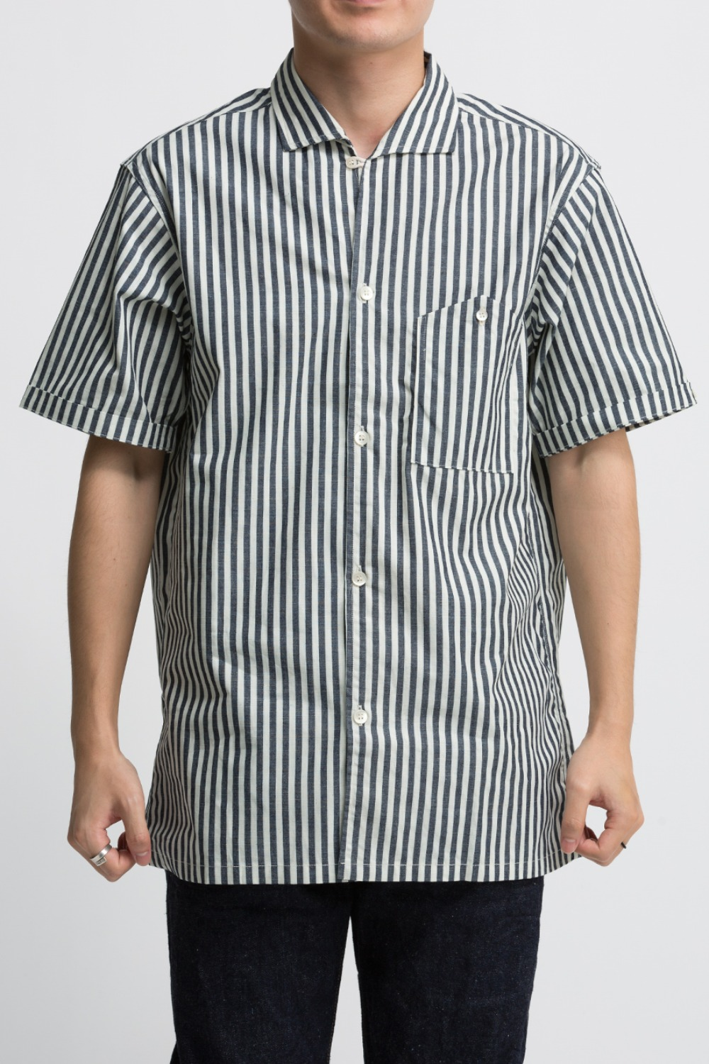 LOT 3091 S/S OPEN COLLAR SHIRTS STRIPE (WIDE)