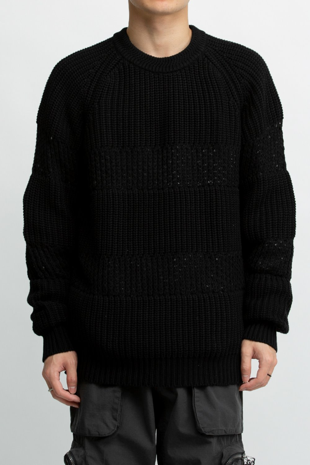 LOOSE MESH STRIPE RIB SWEATER BLACK