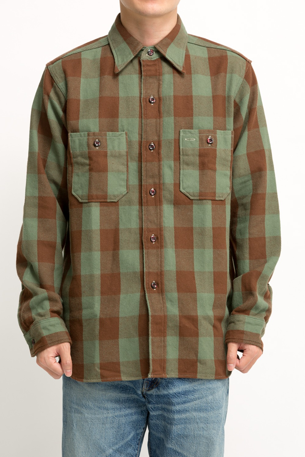 LOT 3104 FLANNEL SHIRTS PATTERN A BROWN/GREEN