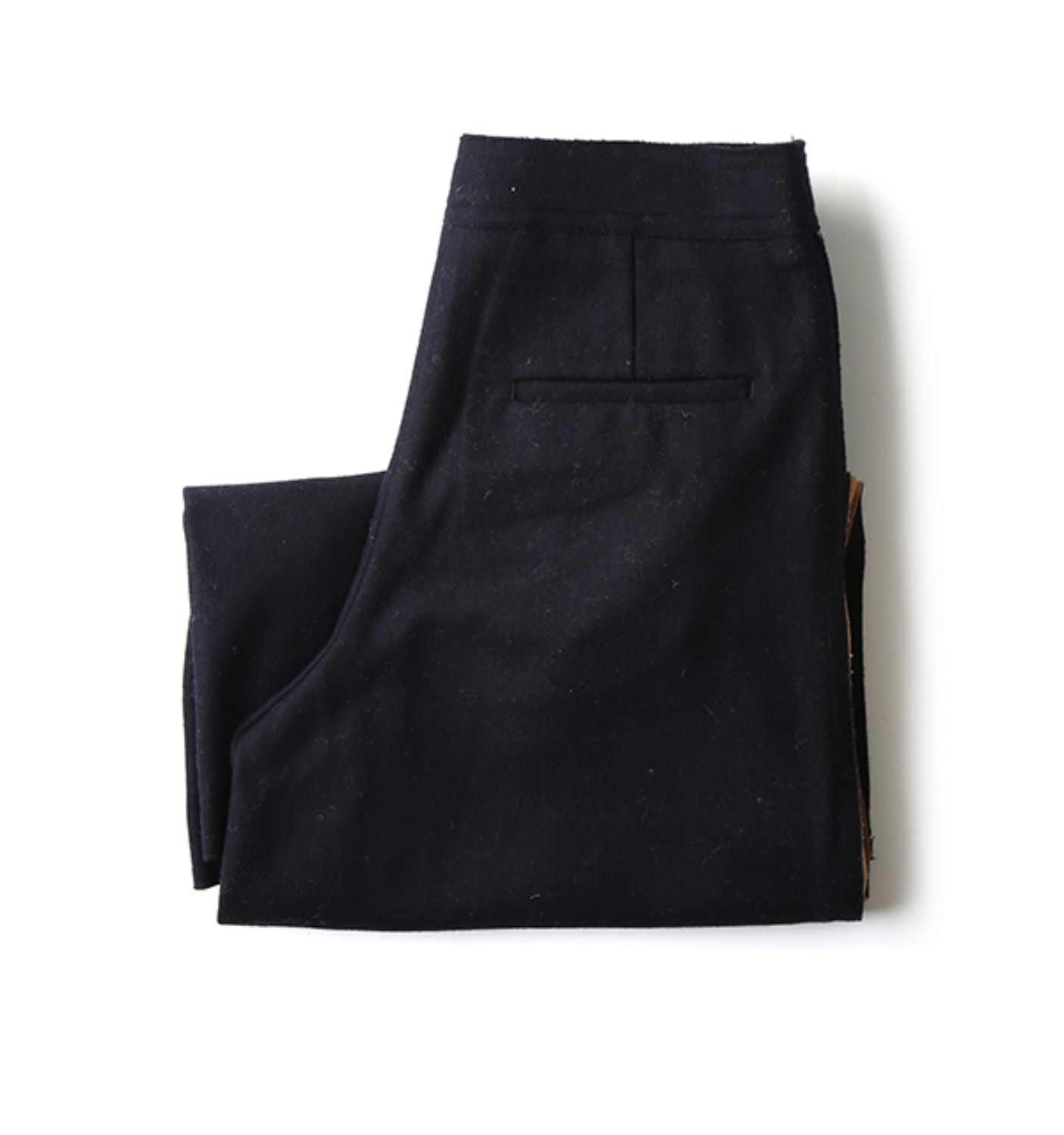 side slit detail wool pants NAVY+BURLYWOOD (NPA02004A)