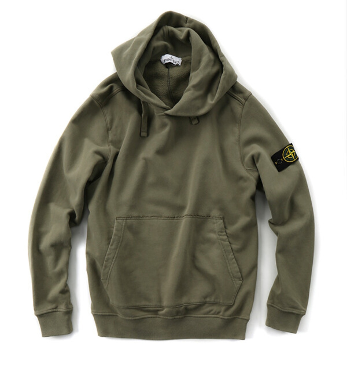 BRUSHED COTTON FLEECE GARMENT DYED HOODED SWEATSHIRT OLIVE