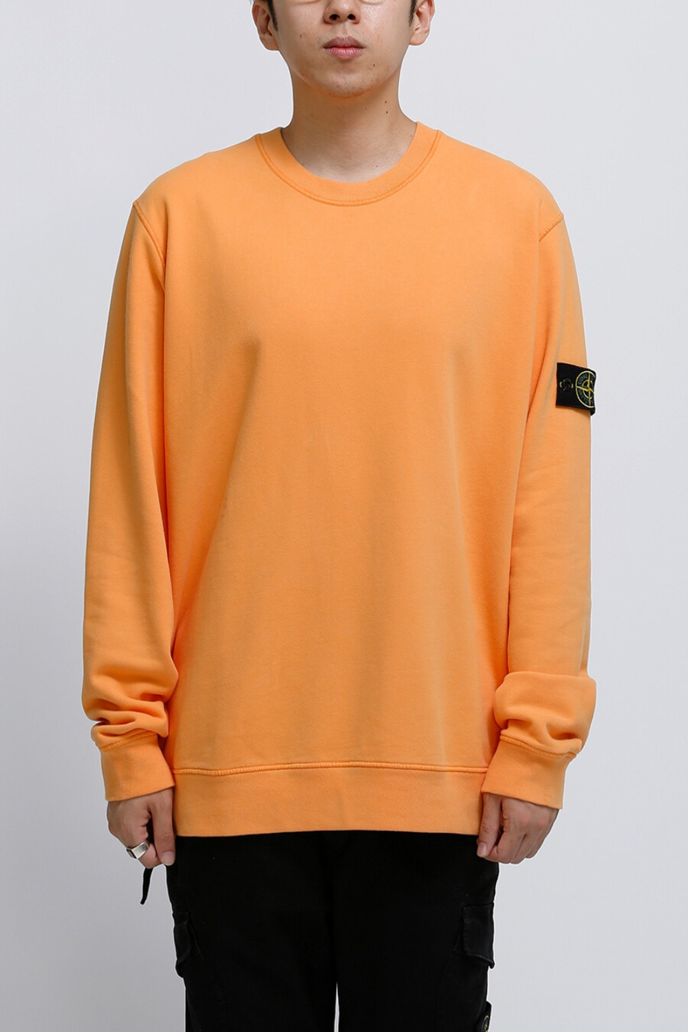 BRUSHED COTTON FLEECE GARMENT DYED SWEATSHIRT ORANGE