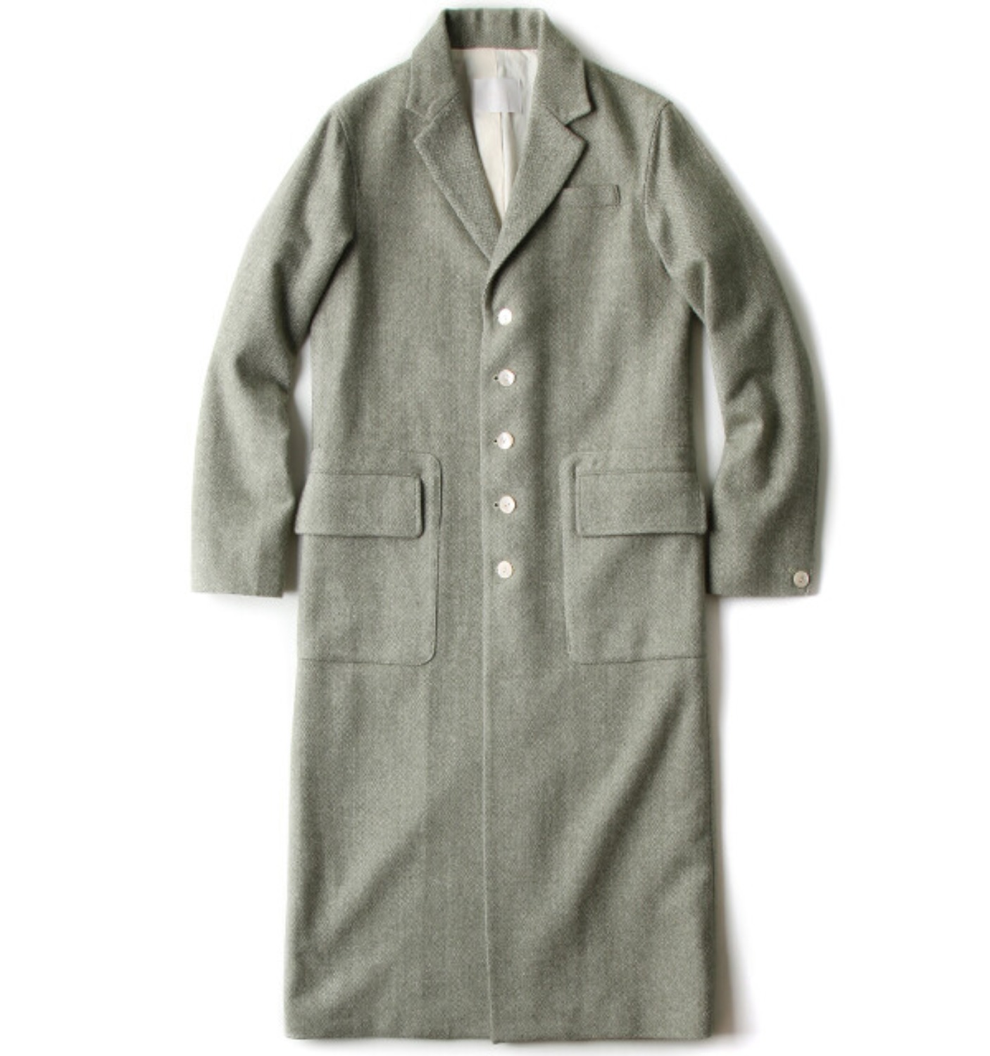 NELLIE TAILORED COAT GREEN WOOL HERRINGBONE