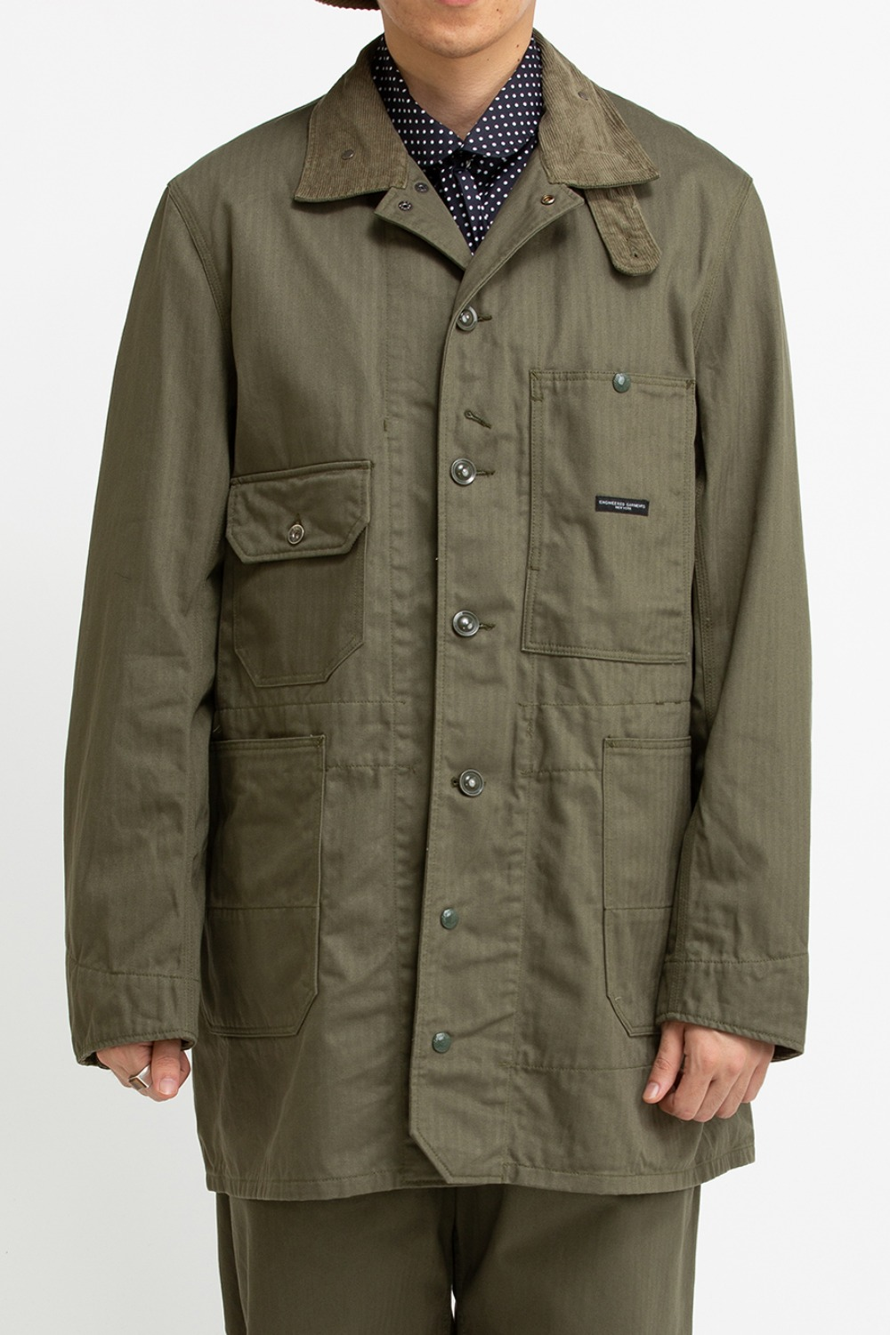 LONG LOGGER JACKET OLIVE COTTON HERRINGBONE