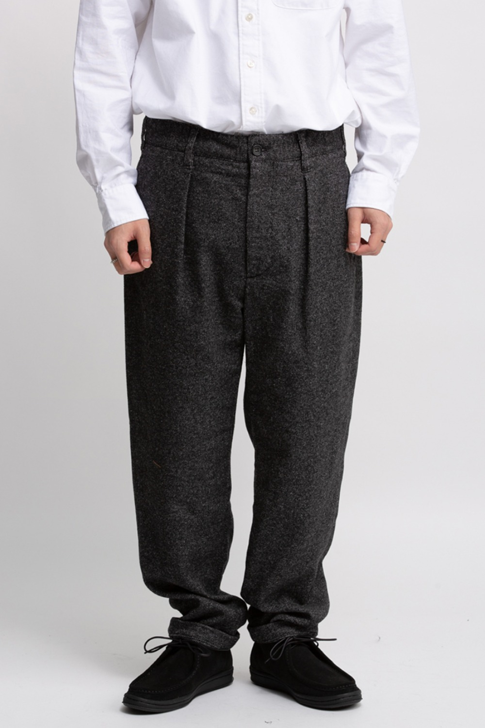 CARLYLE PANT GREY WOOL BLEND HOMESPUN