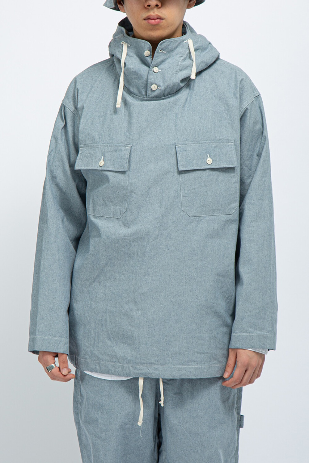 CAGOULE SHIRT BLUE UPCYCLED CHAMBRAY