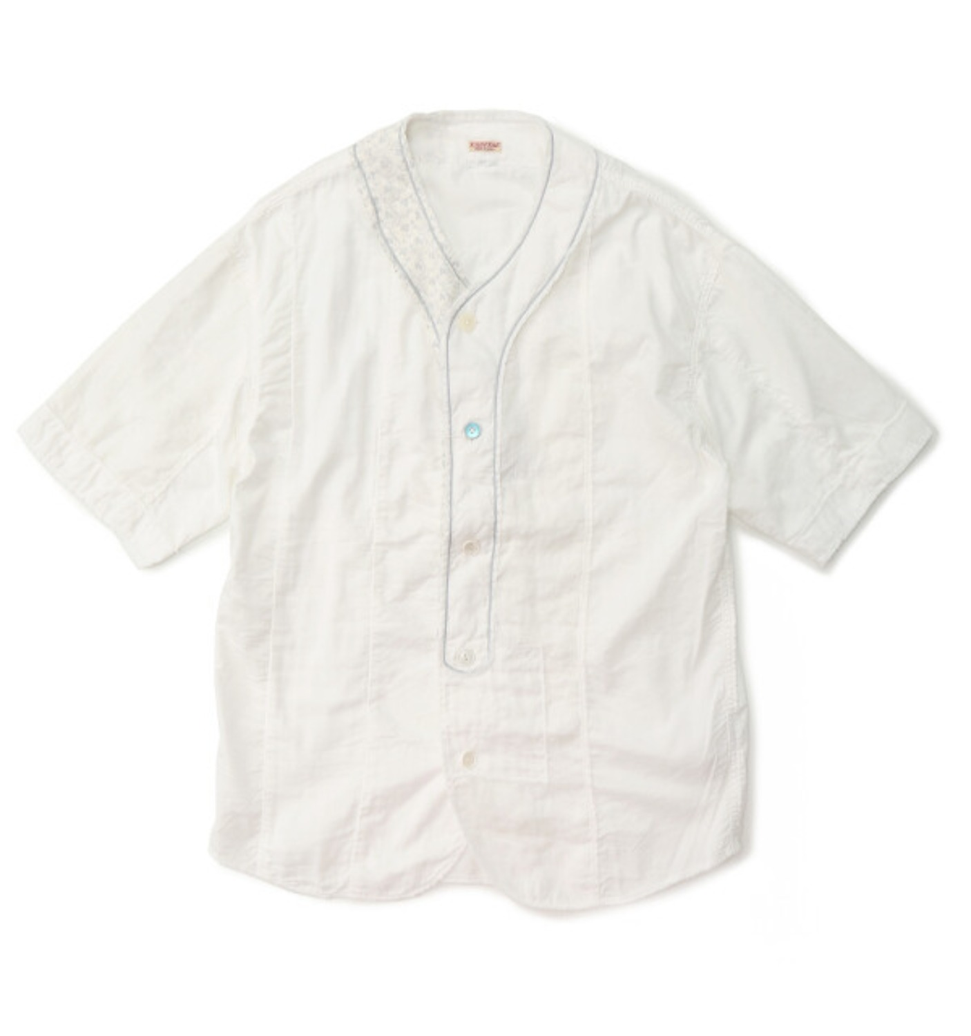 COTTON X LINEN PATCHWORK BASEBALL SHIRT(#7) WHITE