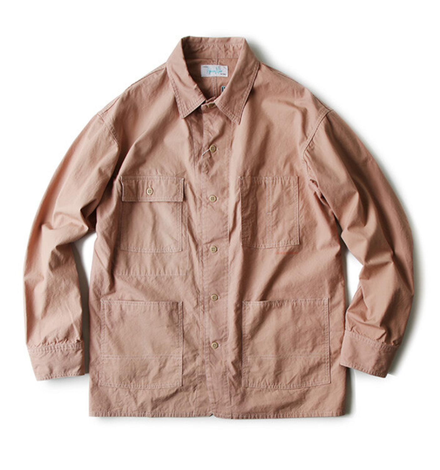 CANVAS COVERALL SHIRT PINK