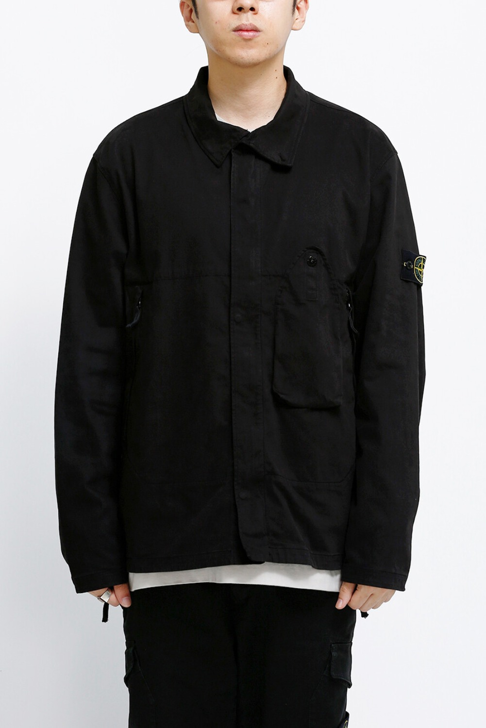 STRETCH GABARDINE OVERSHIRT BLACK