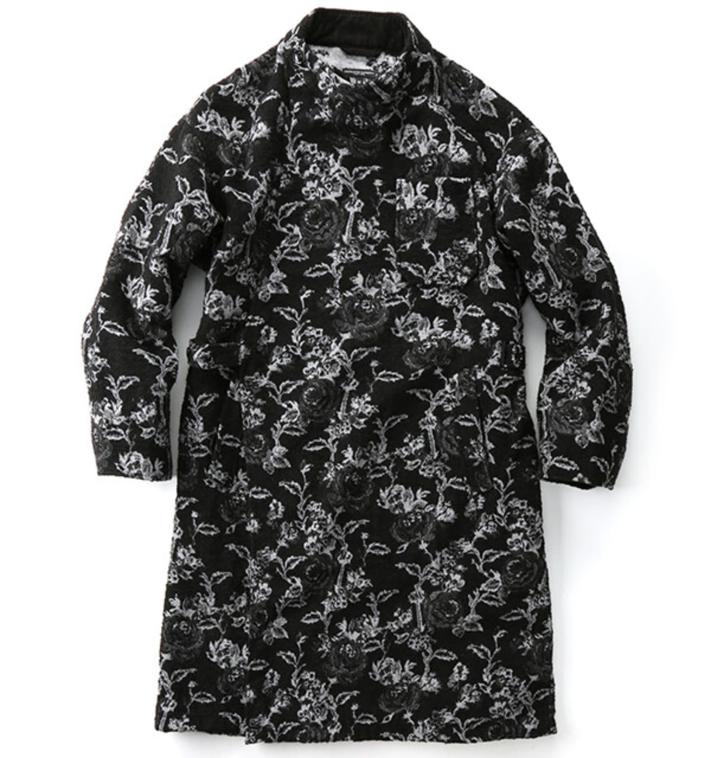 MG COAT BLACK WHITE POLY WOOL ROSE JACQUARD