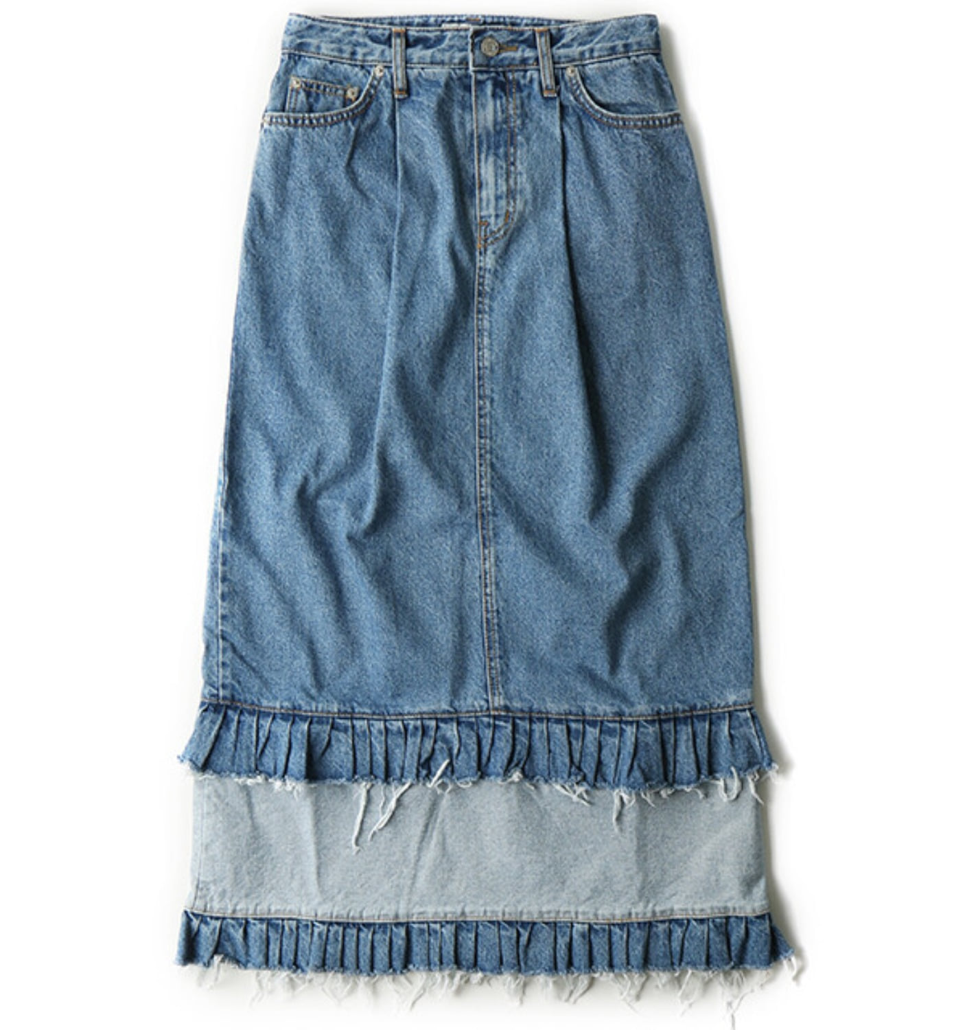FRILL DETAIL DENIM SKIRT(NSK06001A) INDIGO