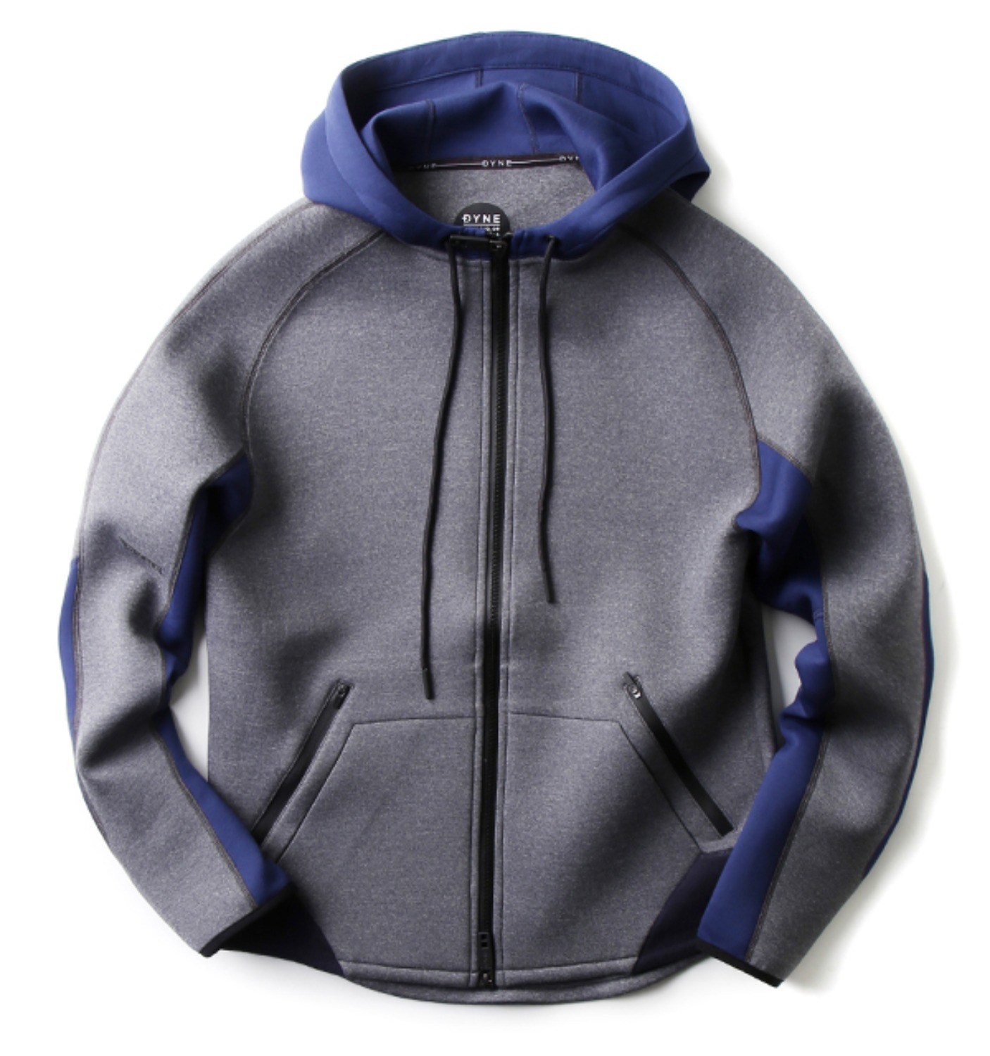 D3013 Kandel Mega Full Zip Hoodie Colorblock GREY/BLUE