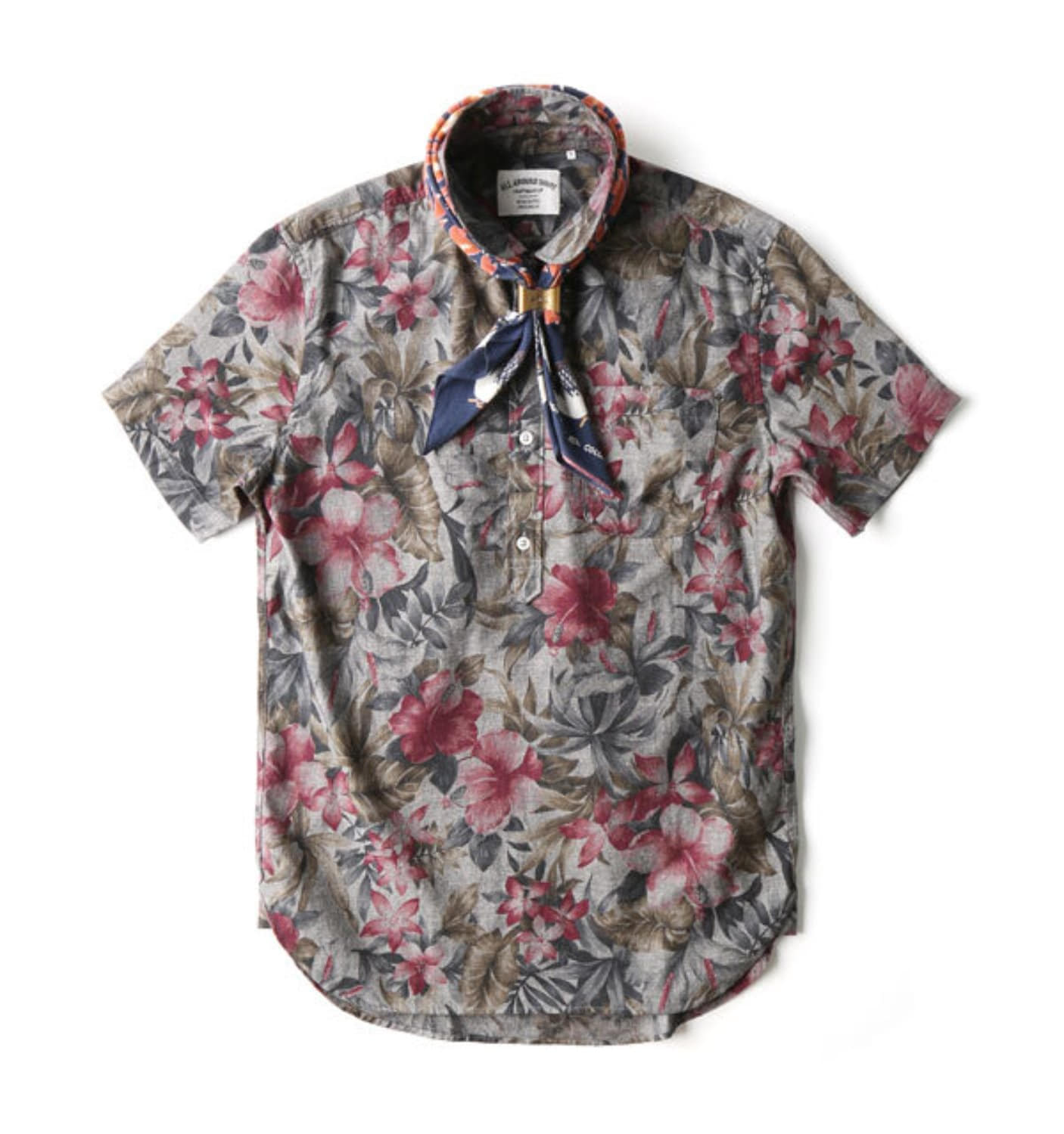 BAS02 GREY/KHAKI OXFORD HAWAIIAN SHIRT