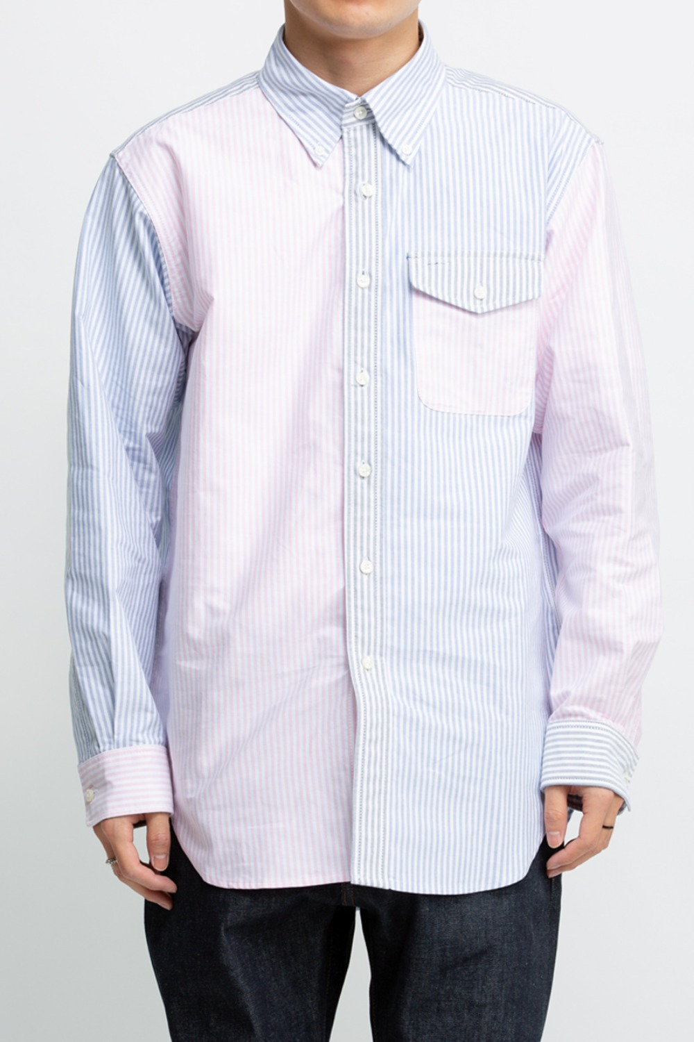 BD SHIRT COMBO BLUE COTTON OXFORD STRIPE
