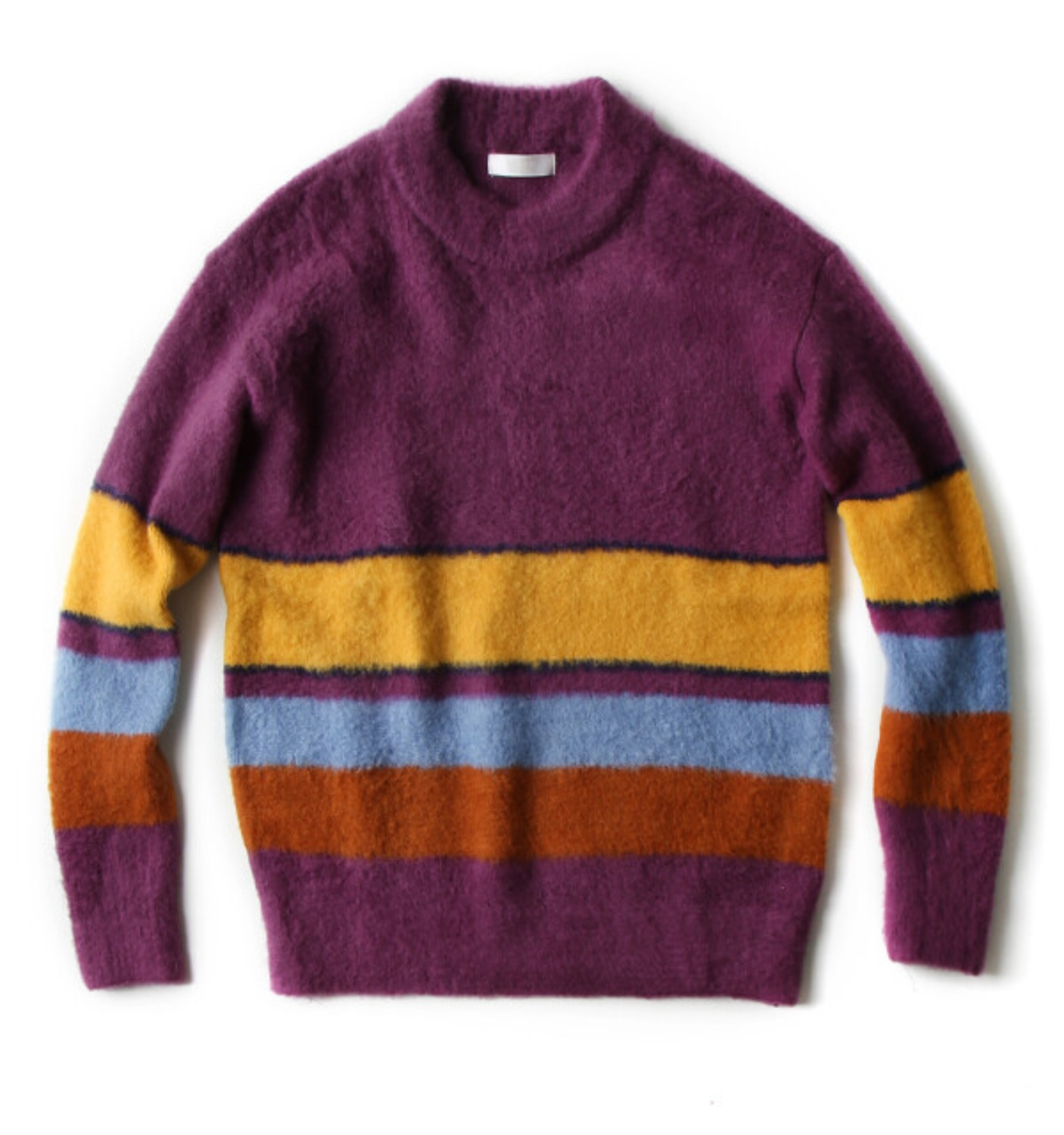 COLOR STRIPE PULLOVER KNIT PURPLE