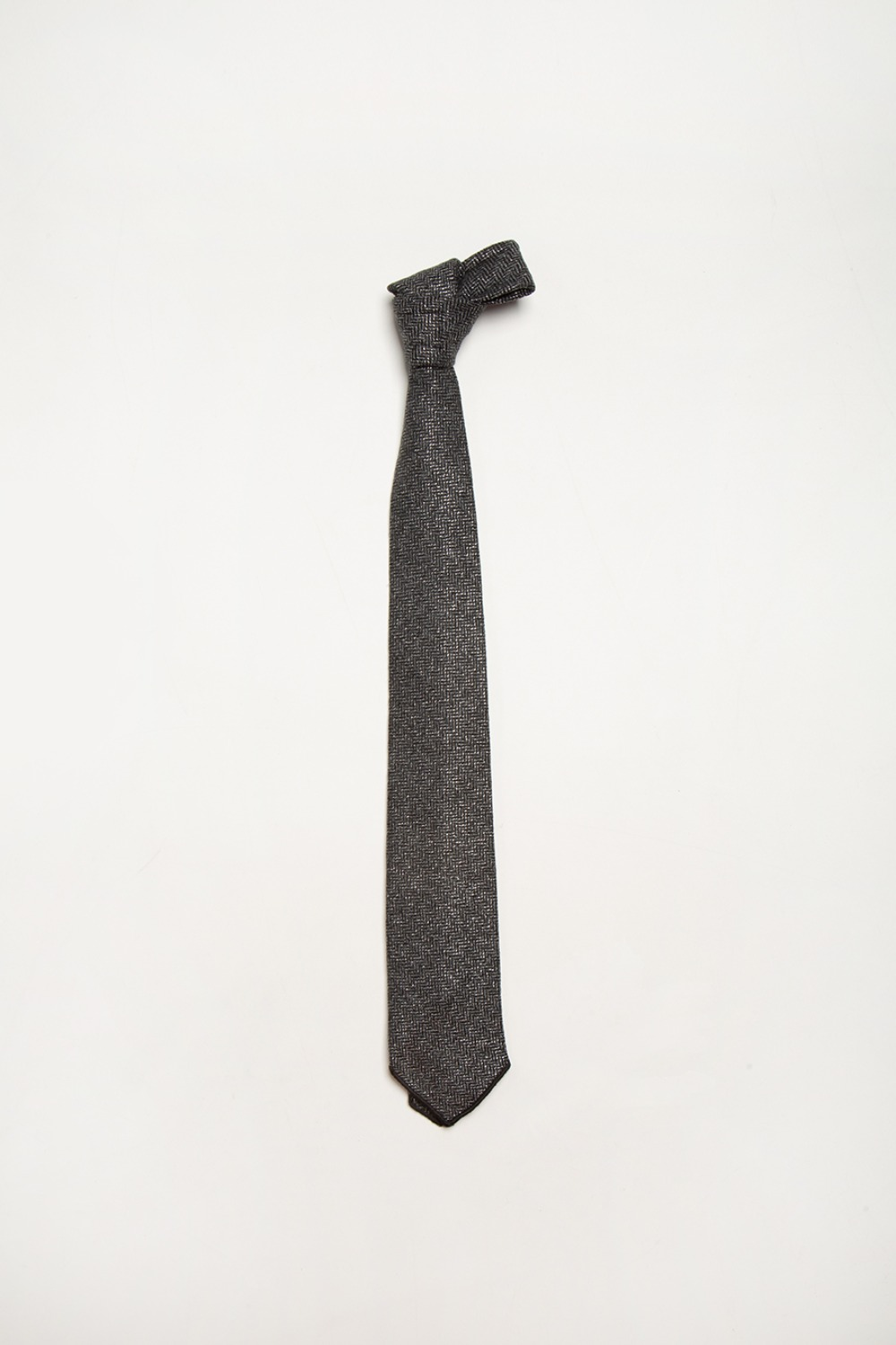 NECK TIE GREY WOOL POLY LUREX HERRINGBONE