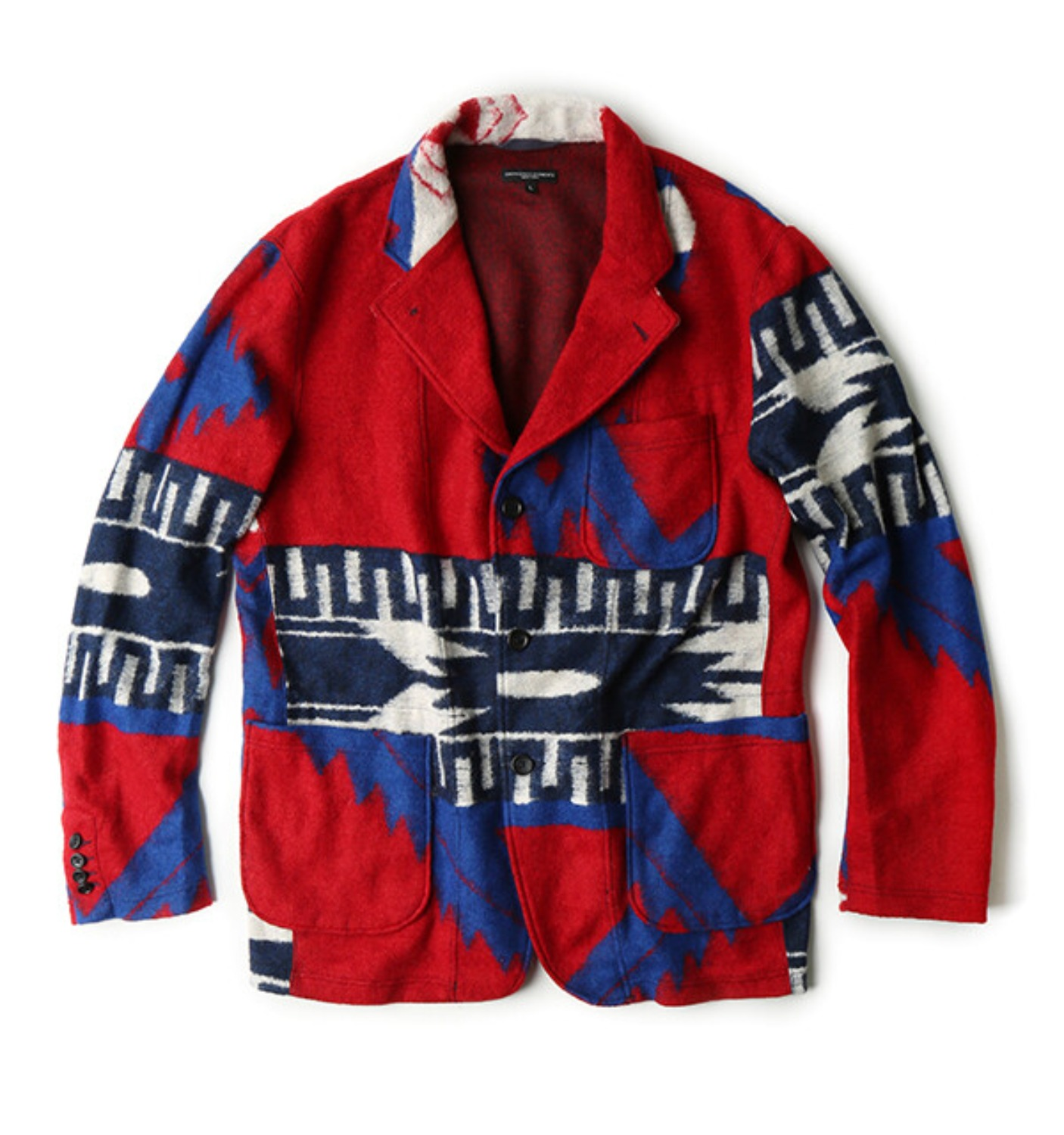 KNIT JACKET RED/ROYAL NAVAJO KNIT