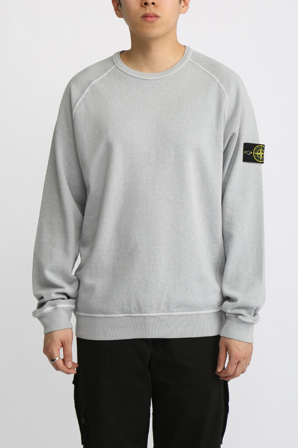 OLD EFFECT BRUSHED COTTON SWEATSHIRT GREY