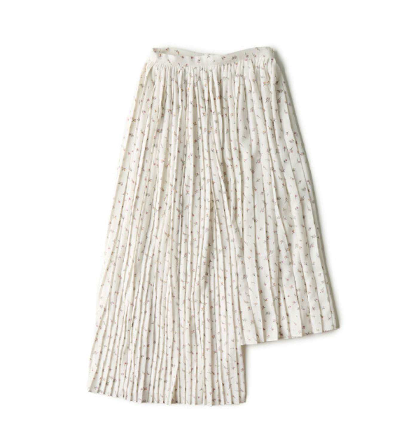 UNBALANCED PLEATED SKIRT SMALL FLOWER
